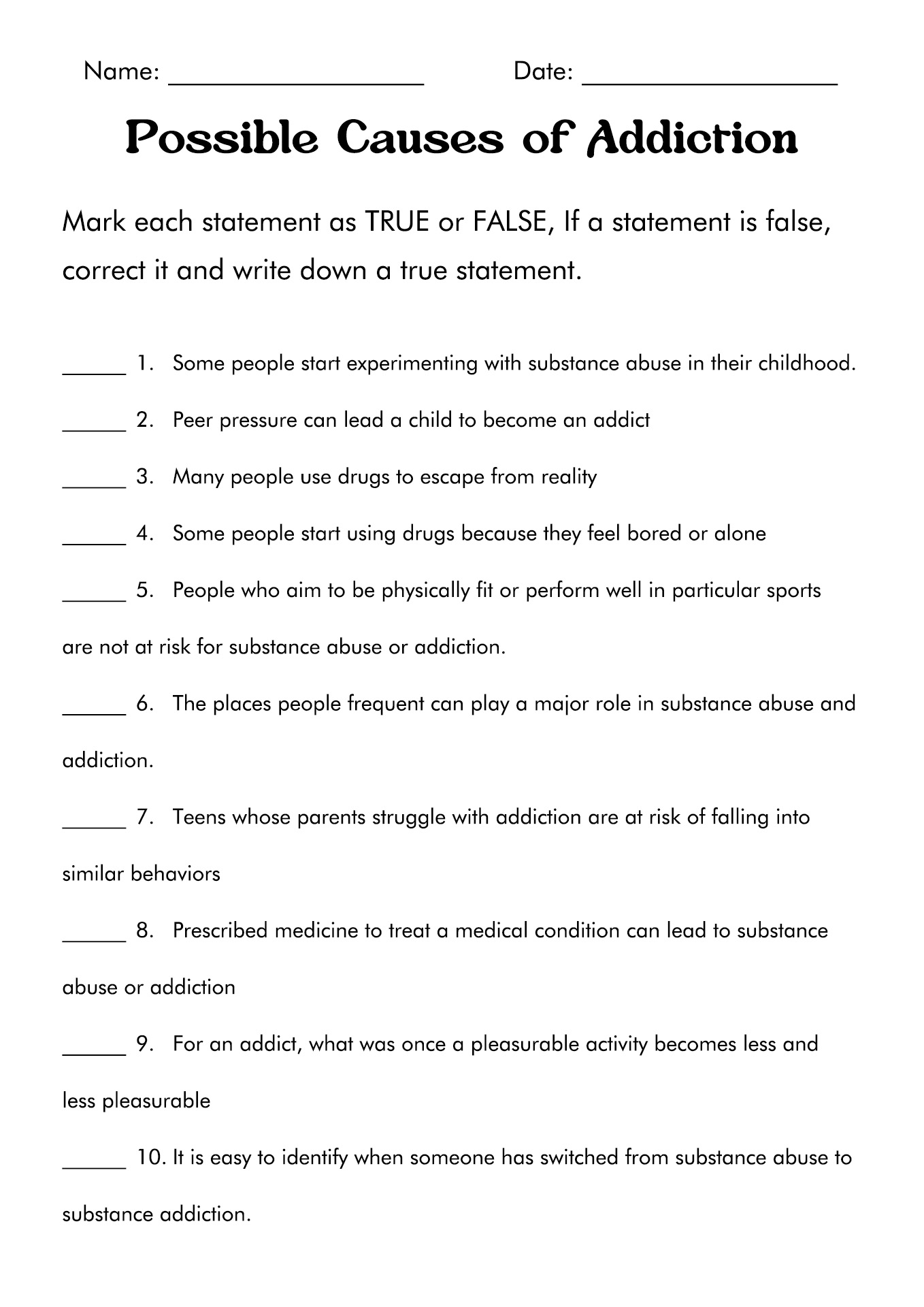 17 Best Images Of Drug And Substance Abuse Worksheets