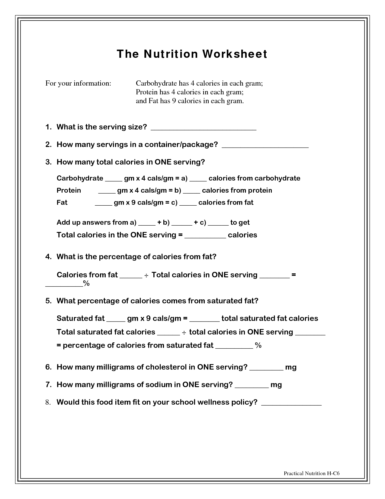 12 Best Images Of Nutrient Worksheets For Students