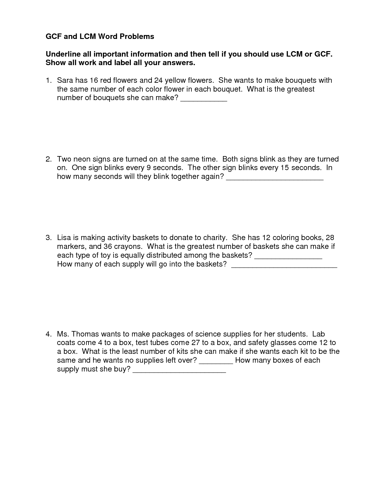 Gcf And Lcm Word Problems Worksheet