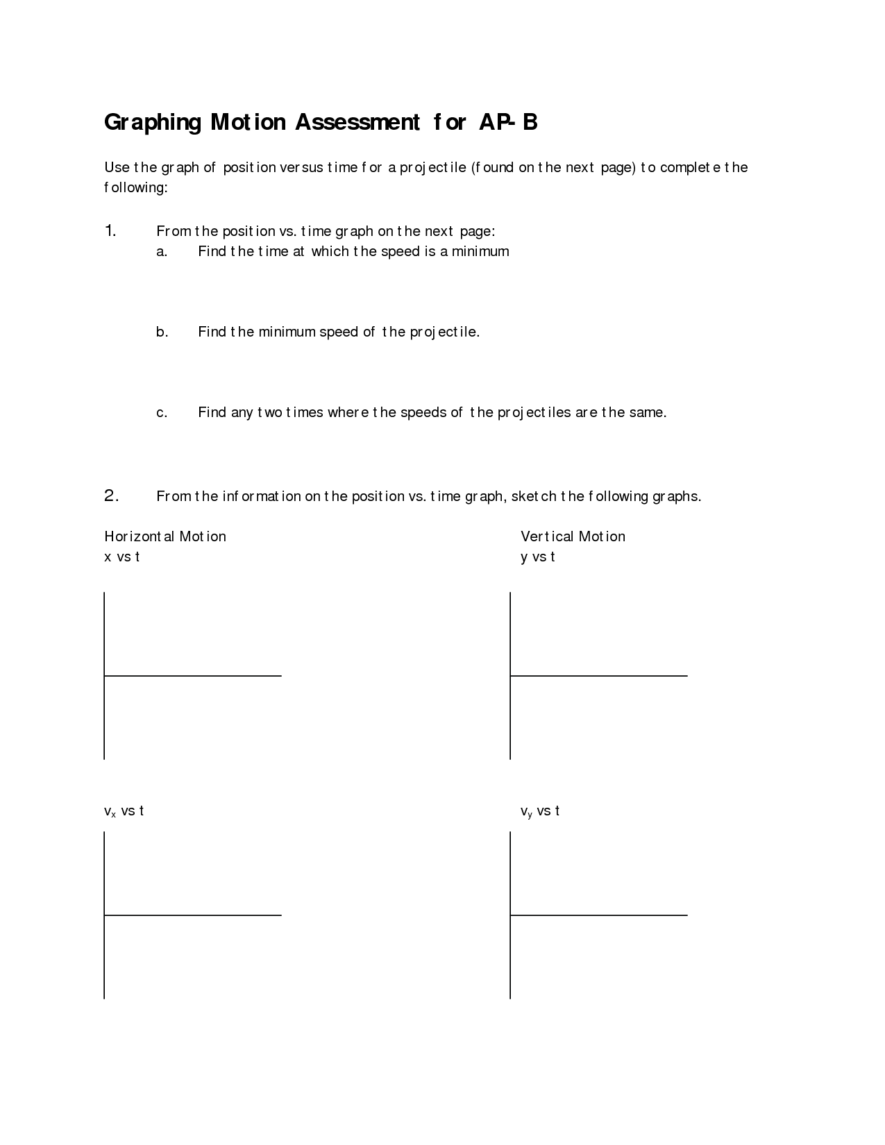 Worksheet Motion Graphs Physics