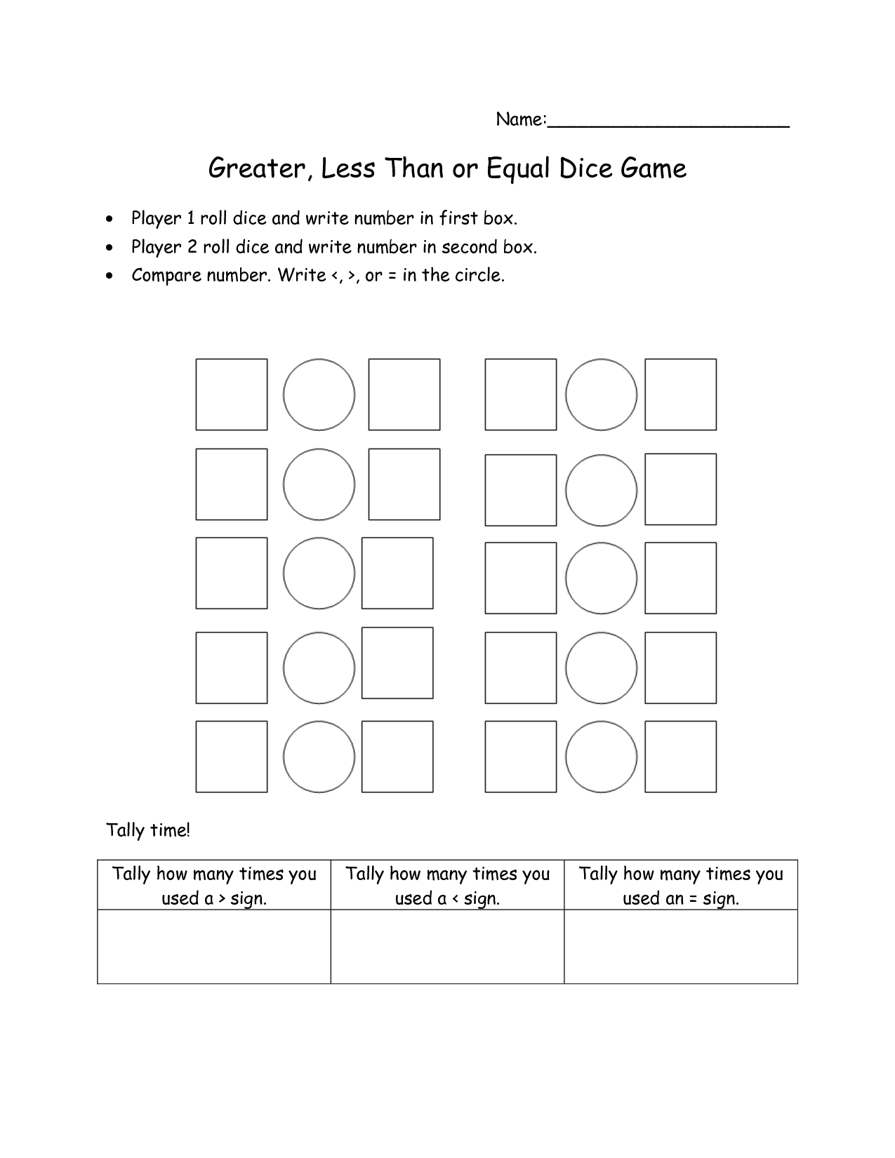 1st Grade Math Worksheet Greater Than Less Than