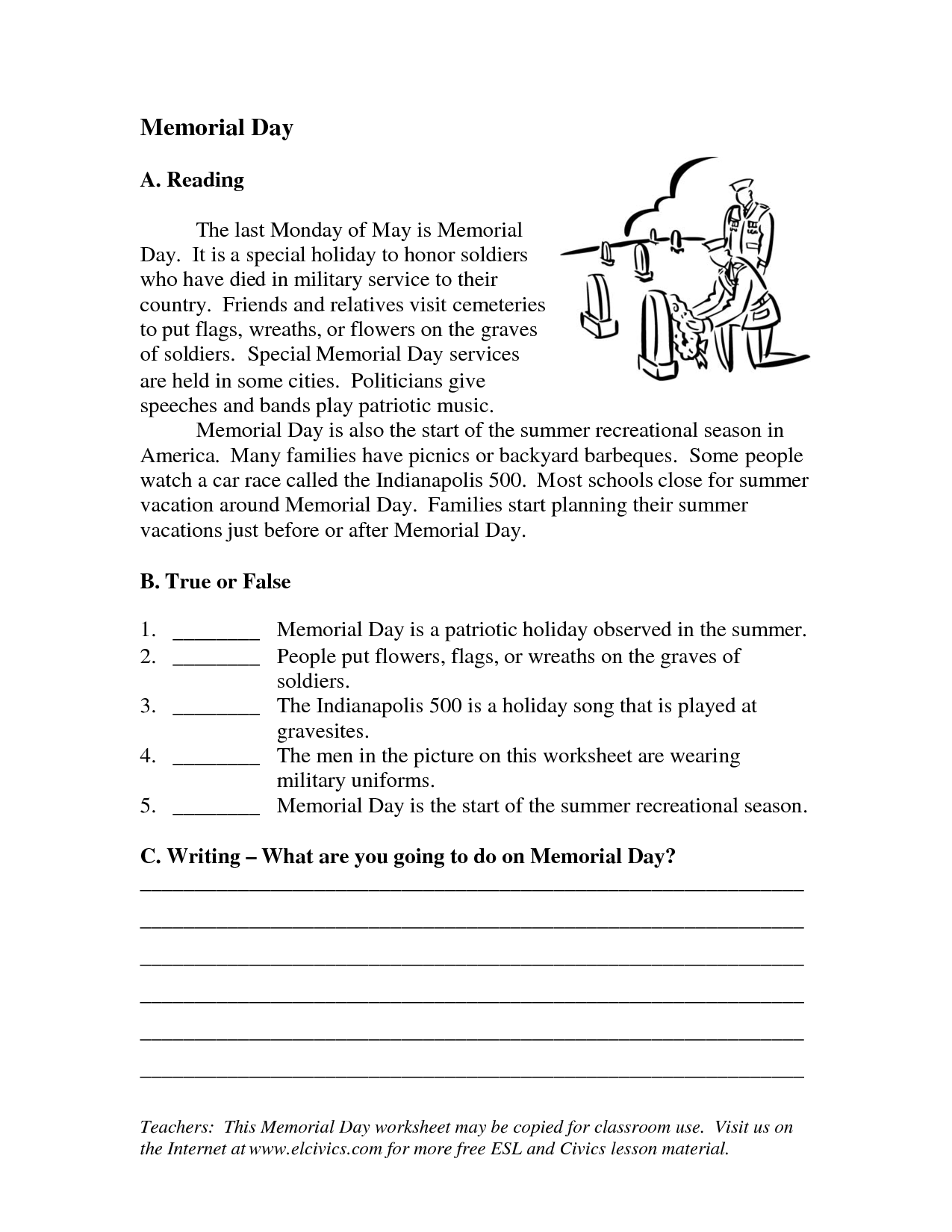 Eagle Memorial Day Worksheets
