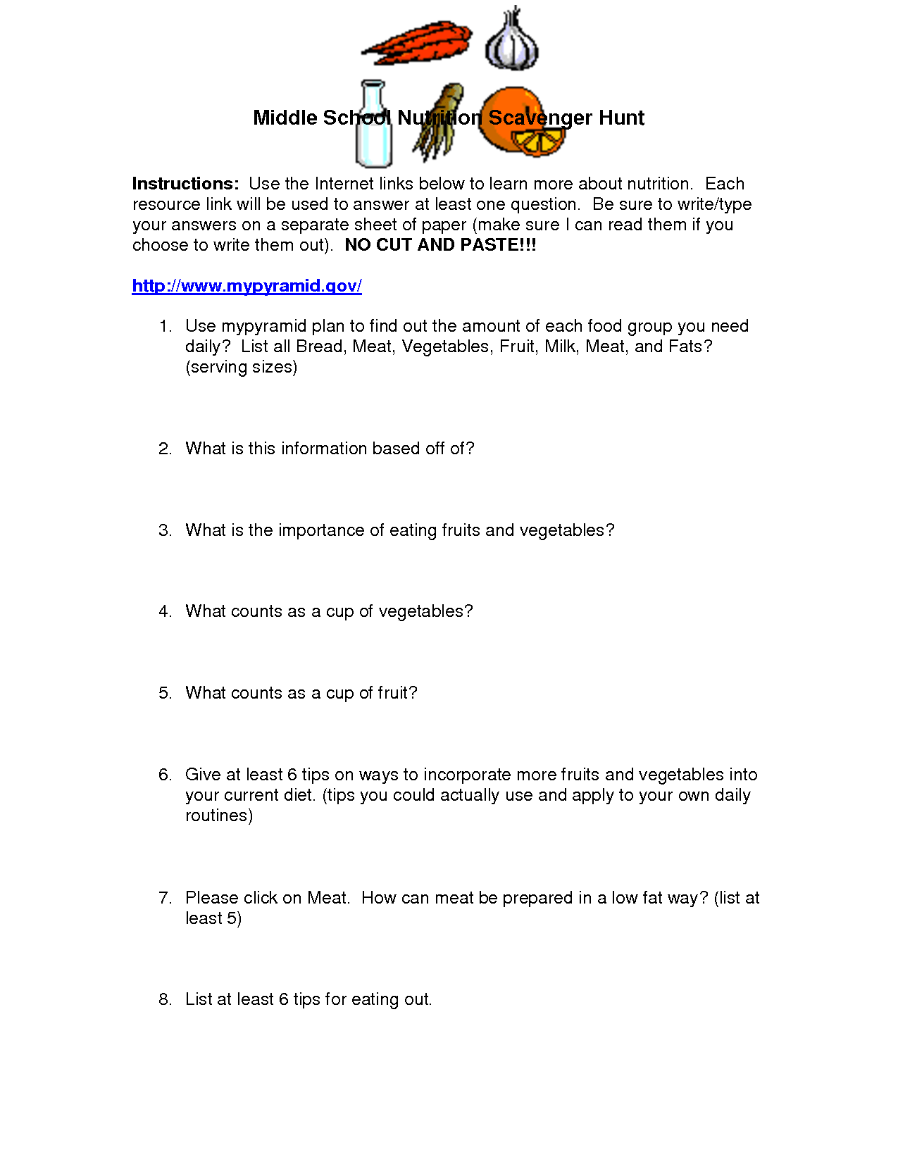 13 Best Images Of Nutrition Worksheets For School