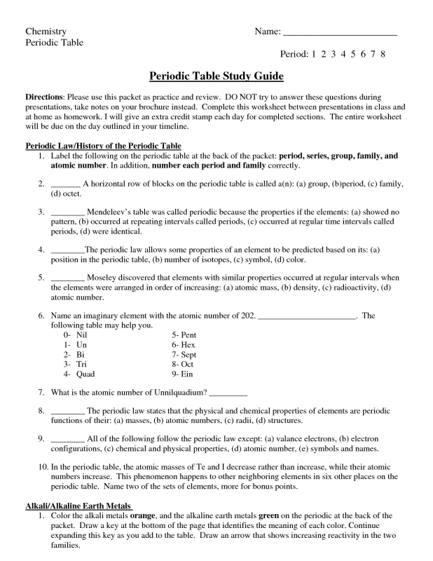 The Periodic Table Worksheet Key | Brokeasshome.com
