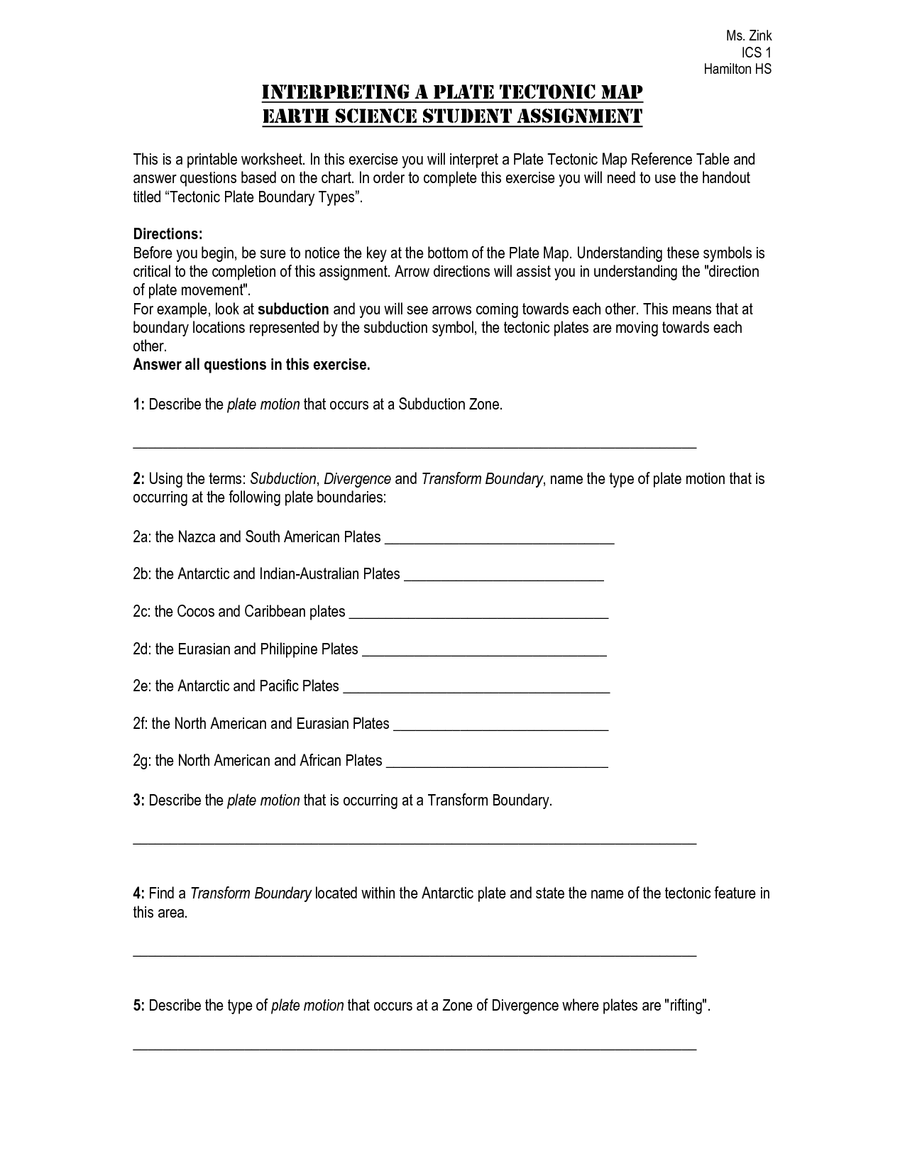 13 Best Images Of Plate Tectonics Worksheet Answer Key