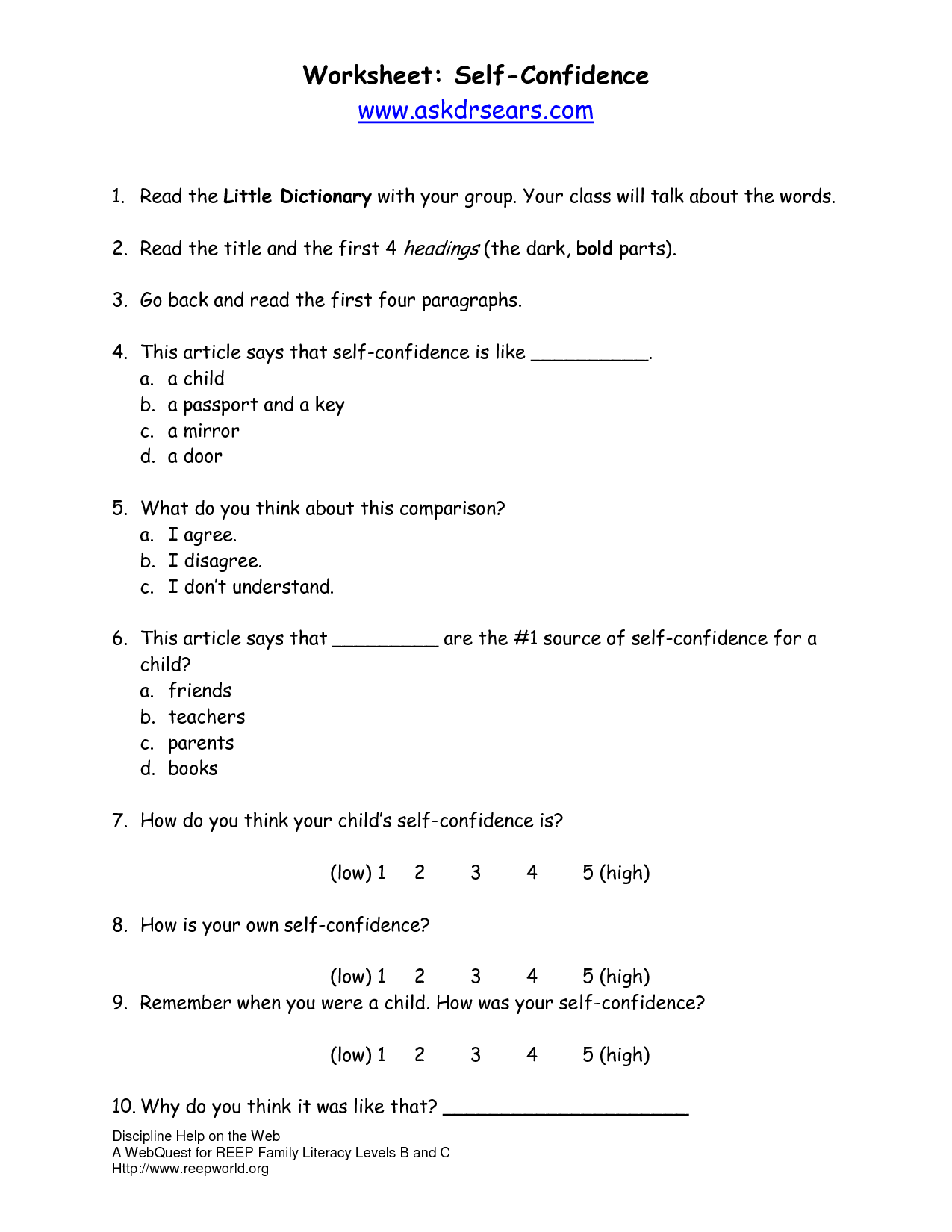 18 Best Images Of Positive Self Image Worksheets