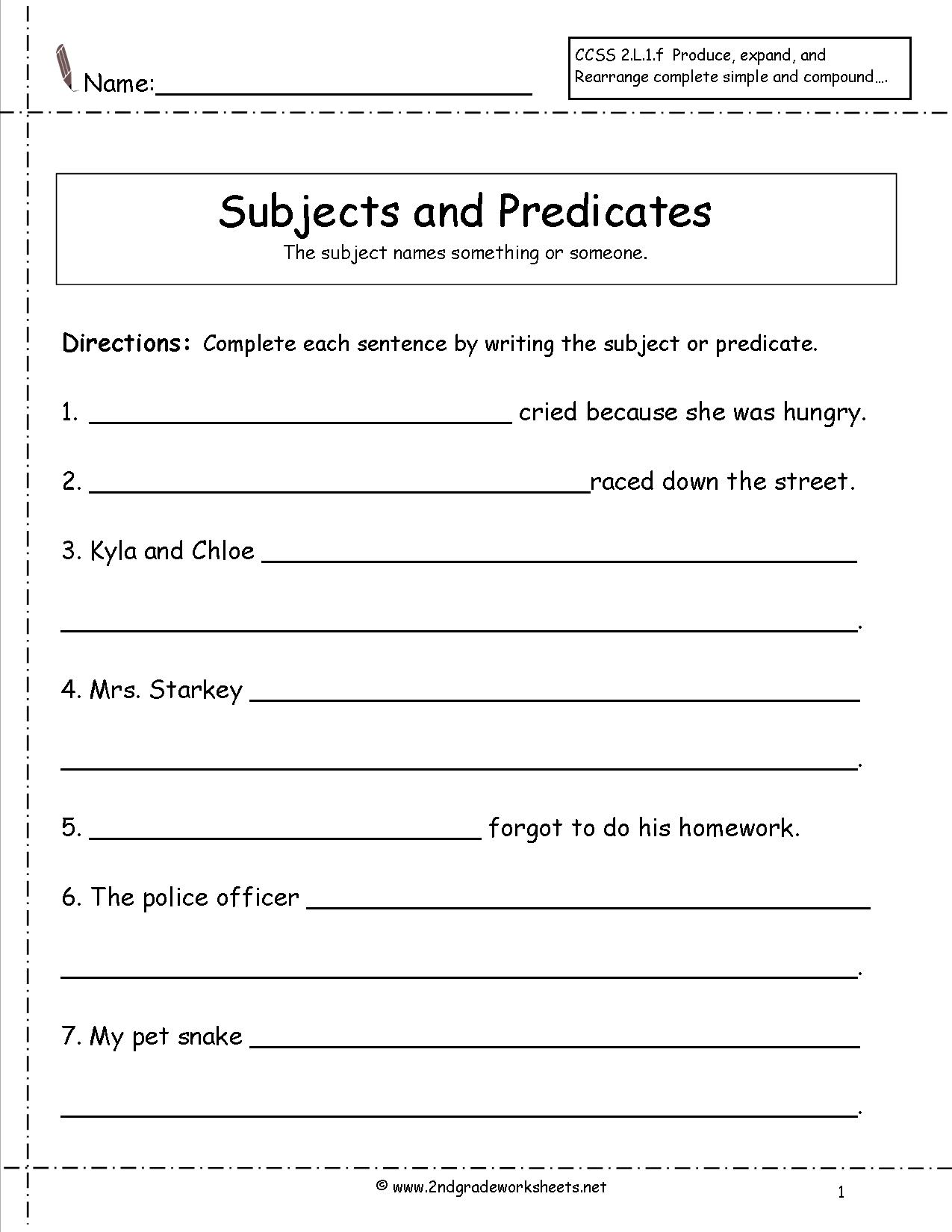 13 Best Images Of Simple Subject Worksheets 1st Grade