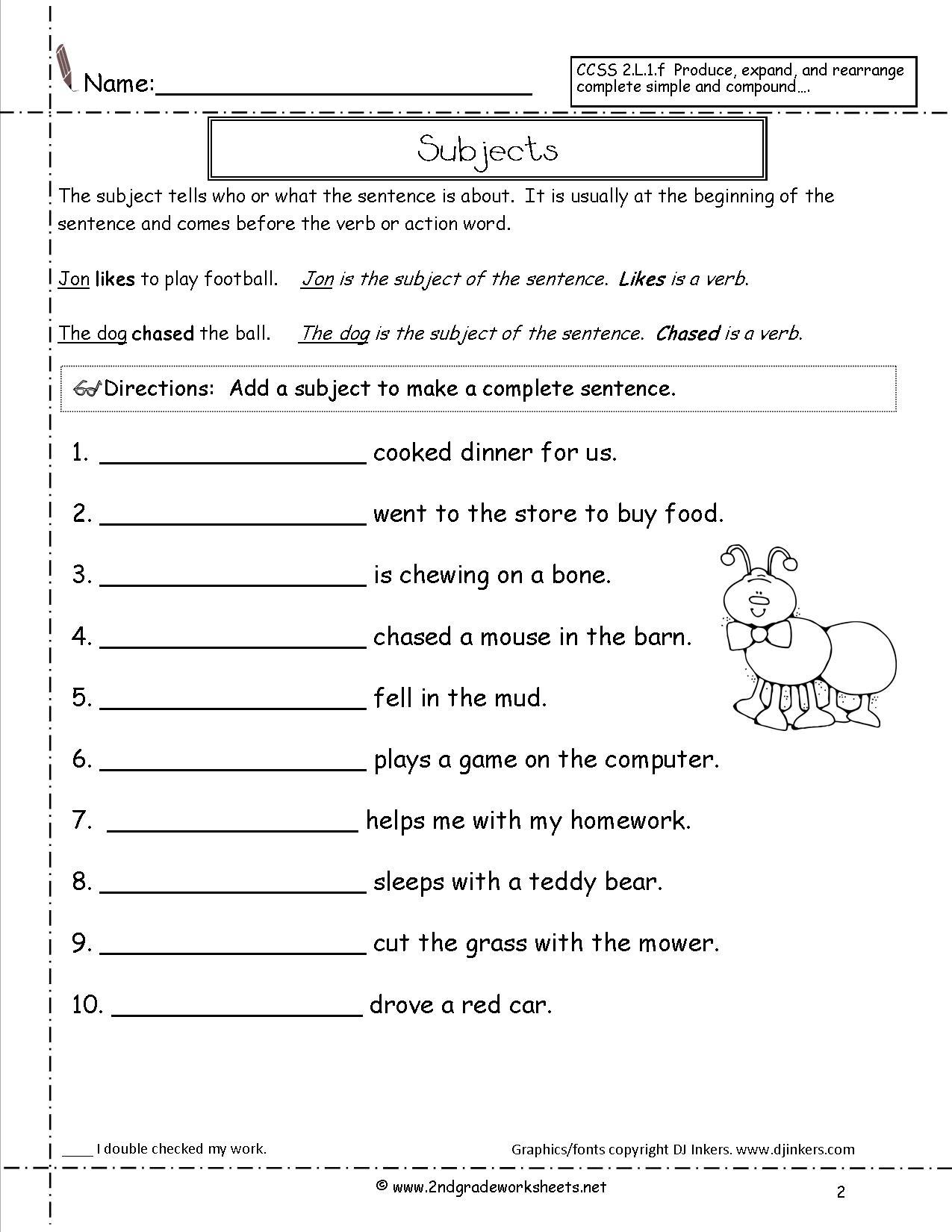 11 Best Images Of Types Of Sentences Worksheet 2nd Grade