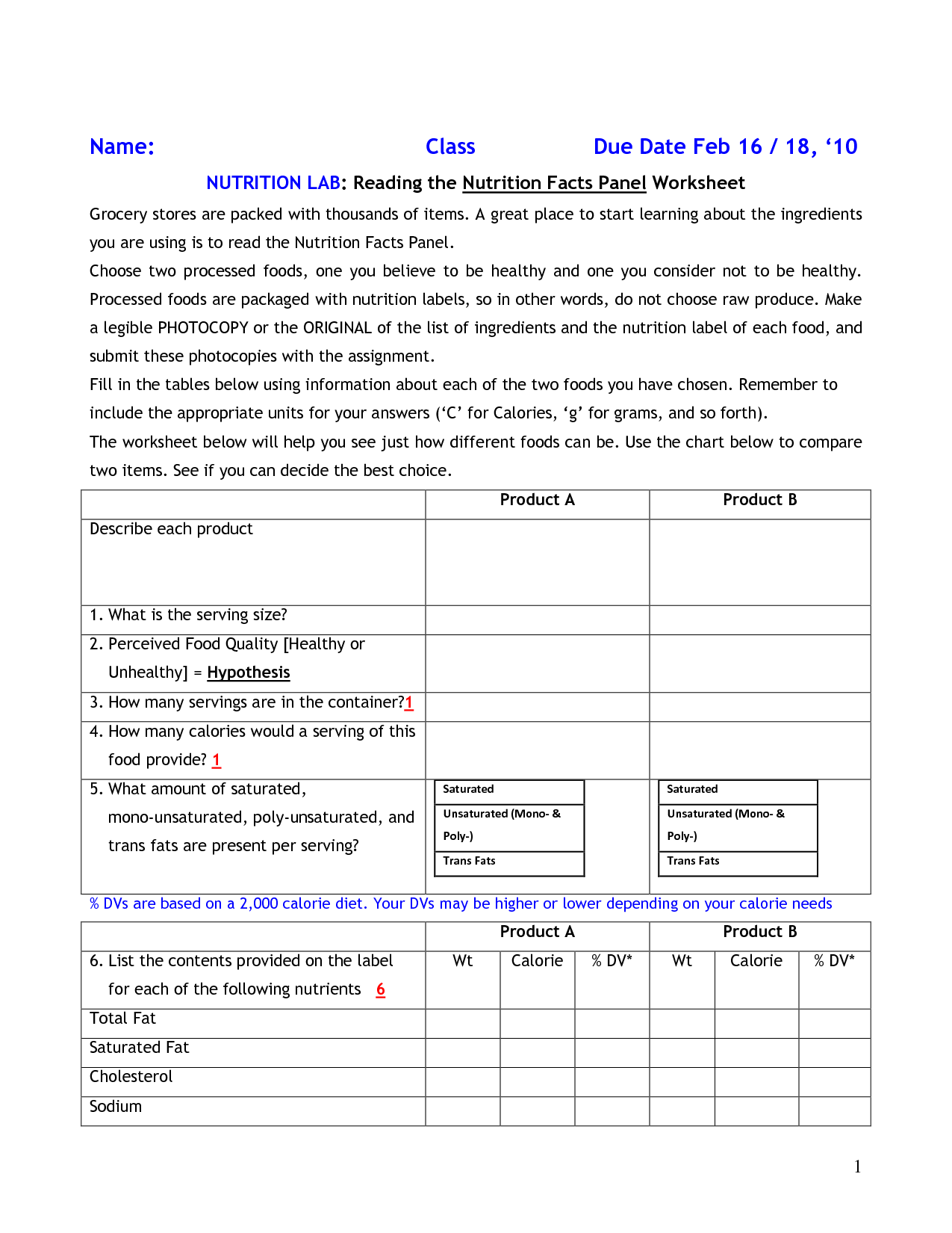 Nutrition Facts Label Worksheet