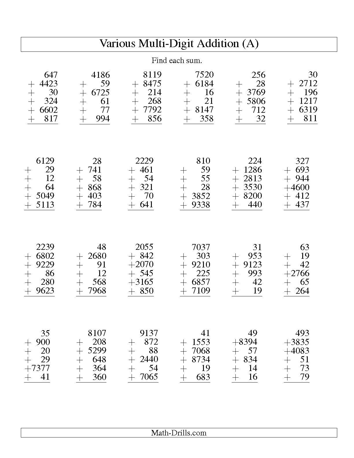 Worksheet Math Year 4