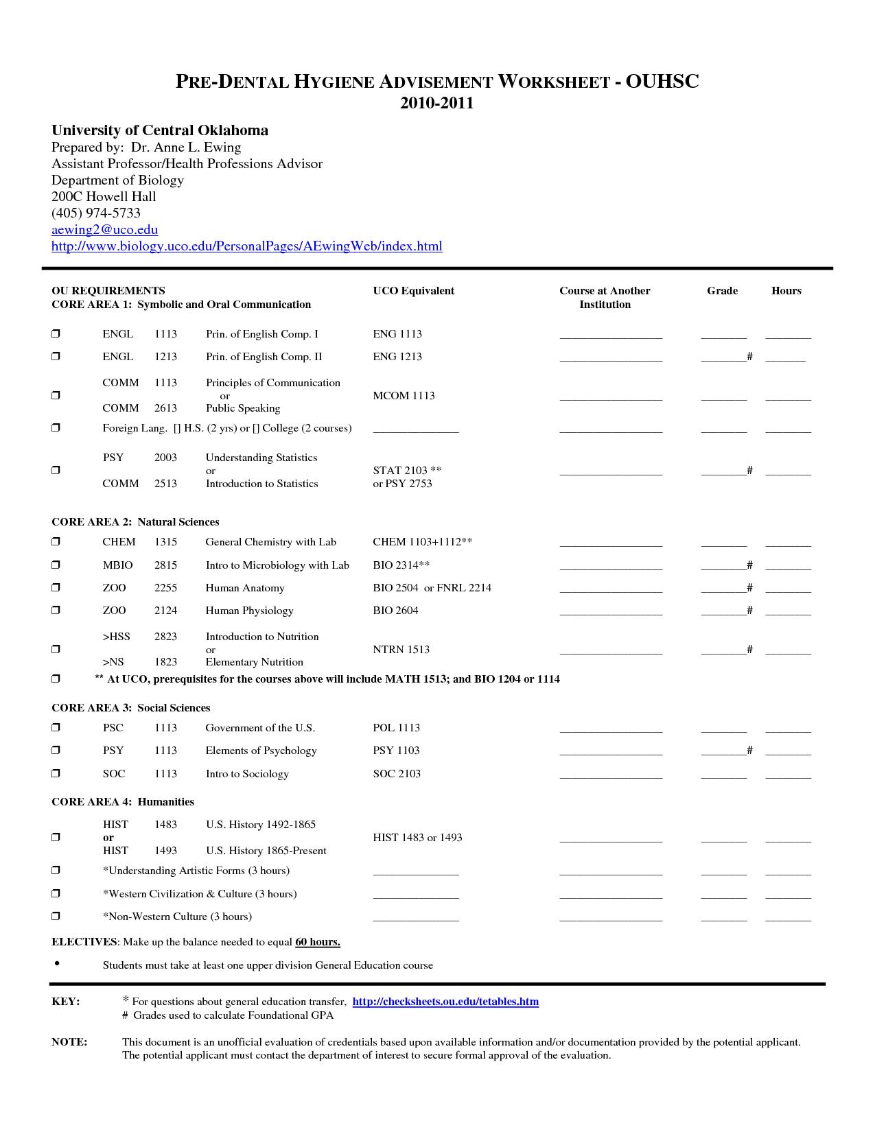 Dental Treatment Planning Worksheet