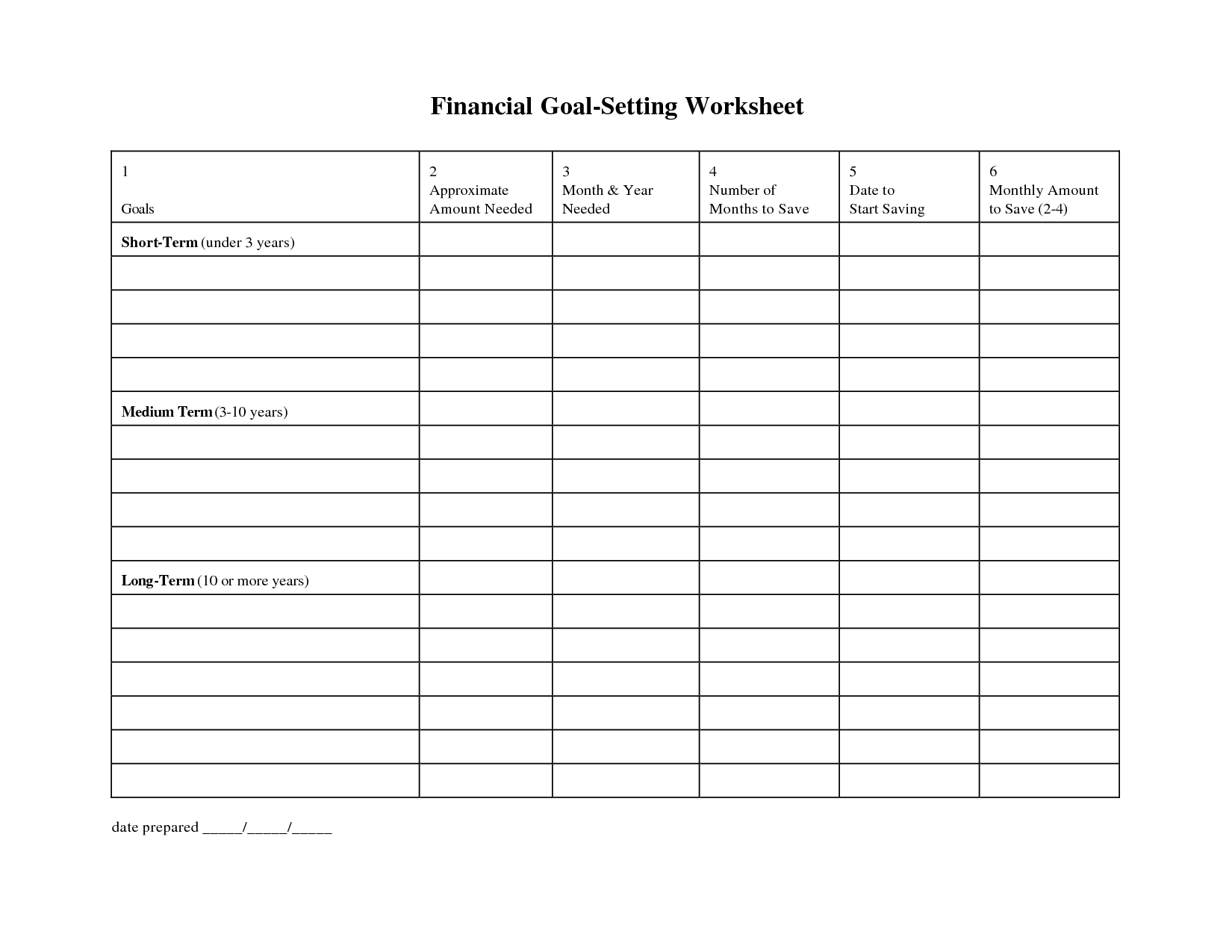 Military Goal Setting Worksheet
