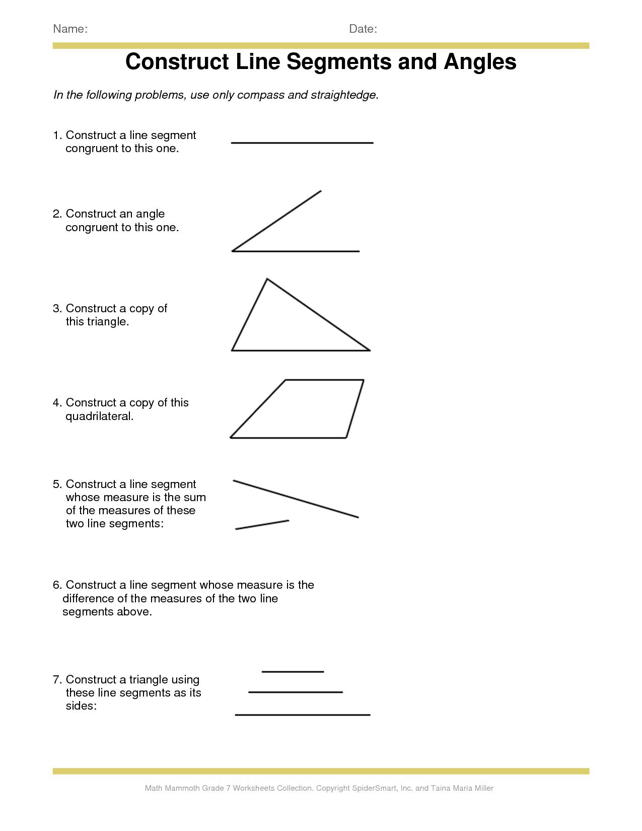 Angle Worksheet For 3rd Grade