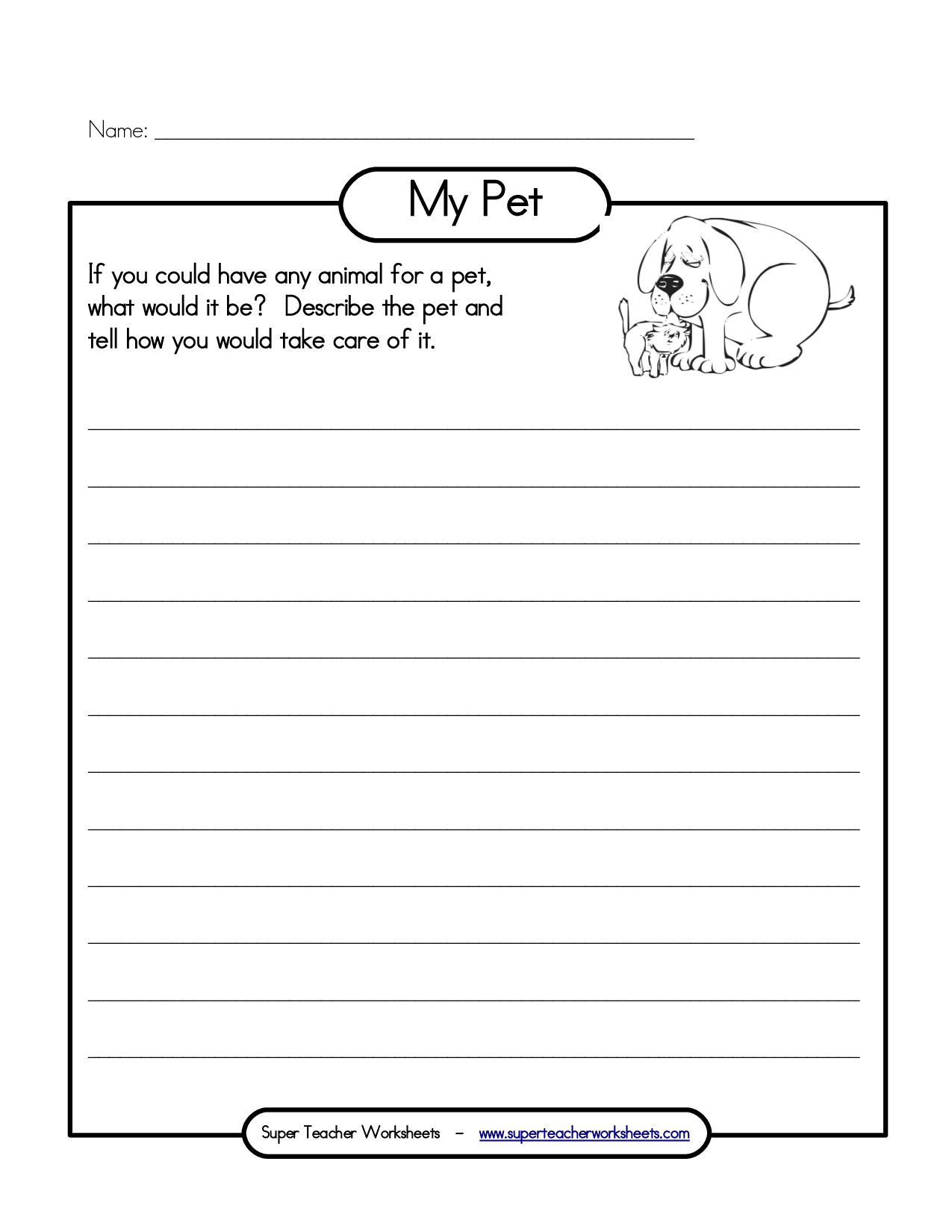 14 Best Images Of My Pet Worksheet