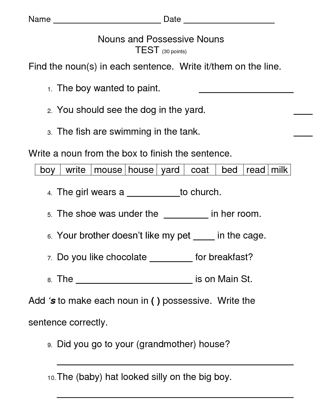 15 Best Images Of Noun Test Worksheet