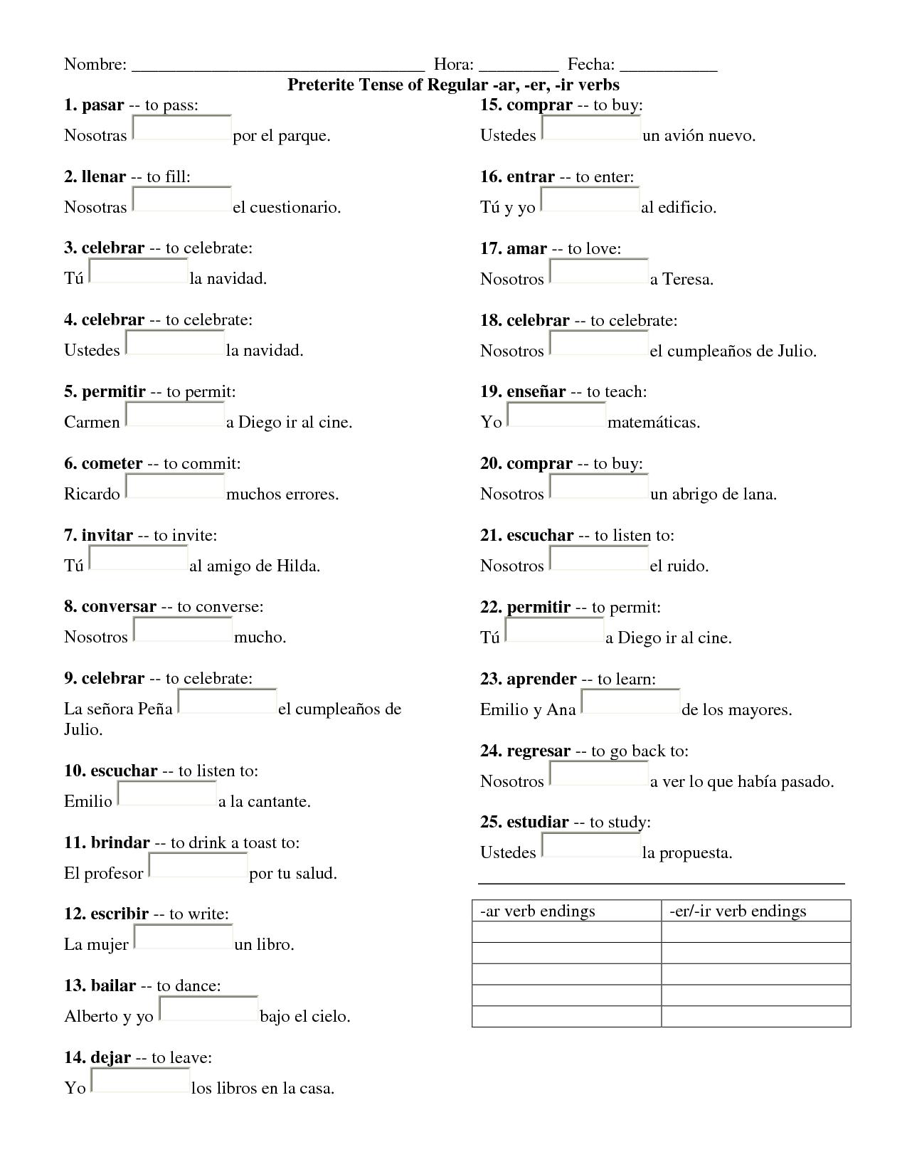 Worksheet Preterite Tense