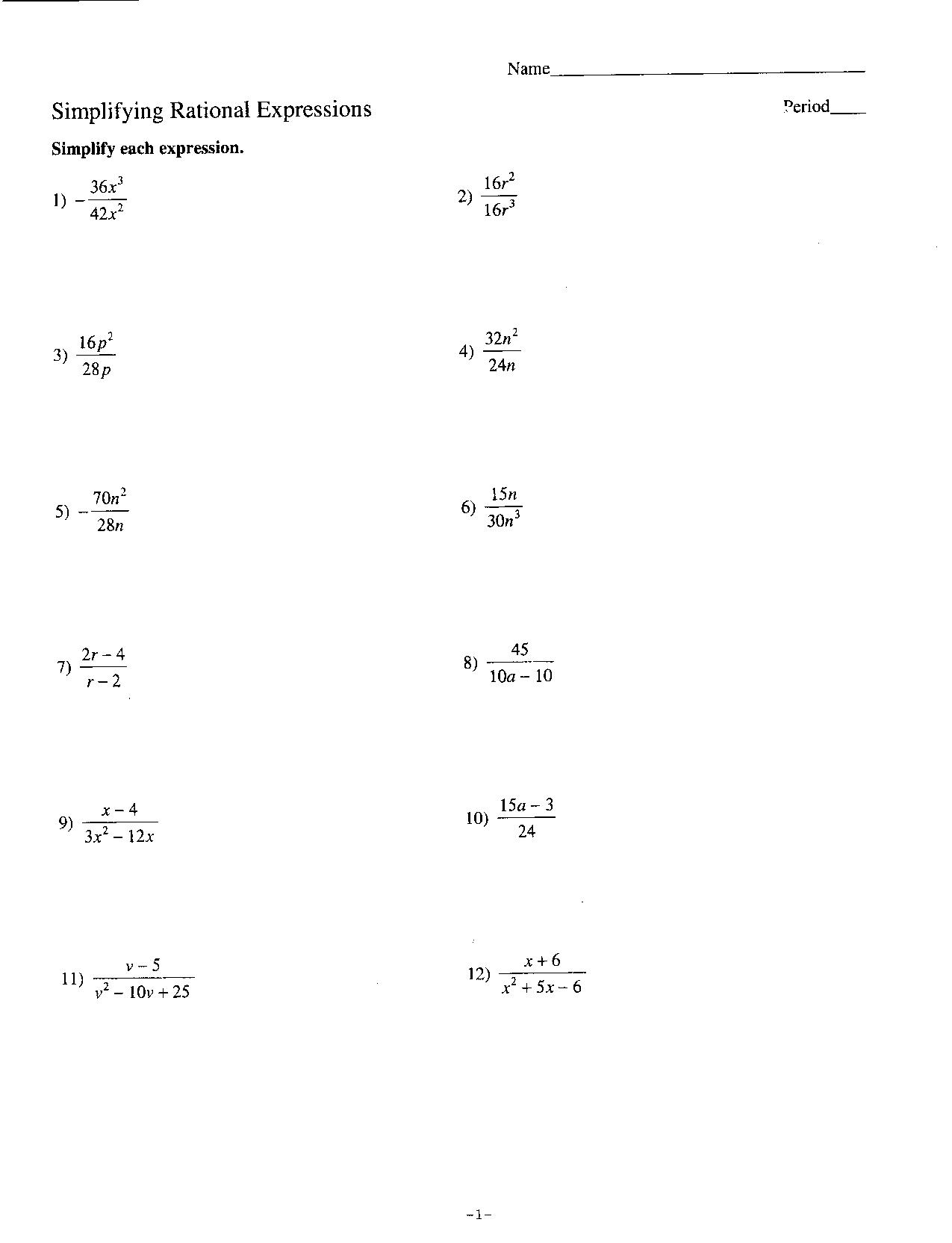 13 Best Images Of Dividing Algebraic Expressions Worksheet