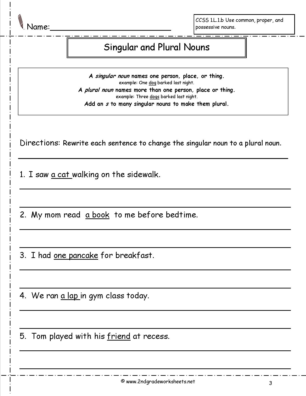 16 Best Images Of Singular And Plural Noun Worksheets Sentences