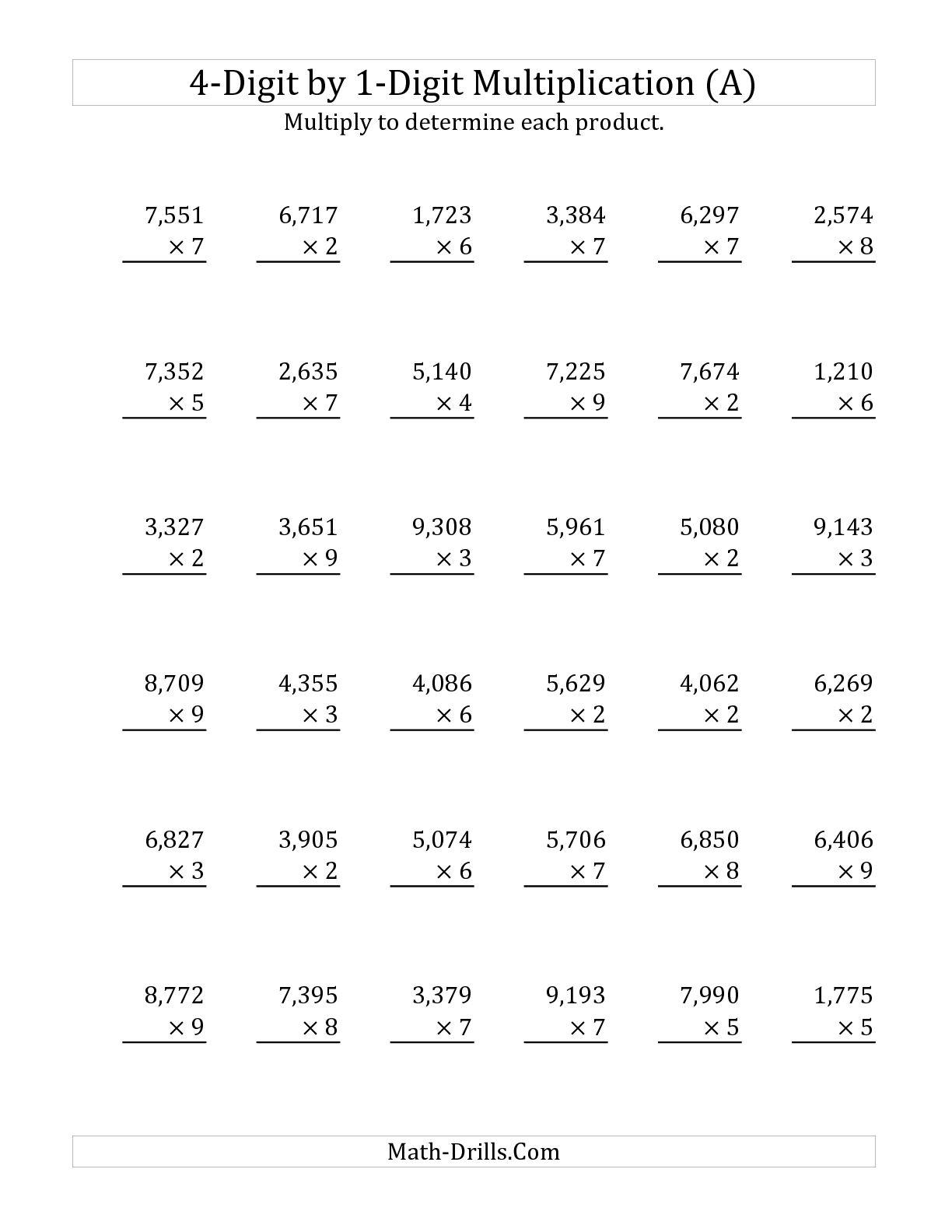 12 Best Images Of Four Multiplication Worksheet