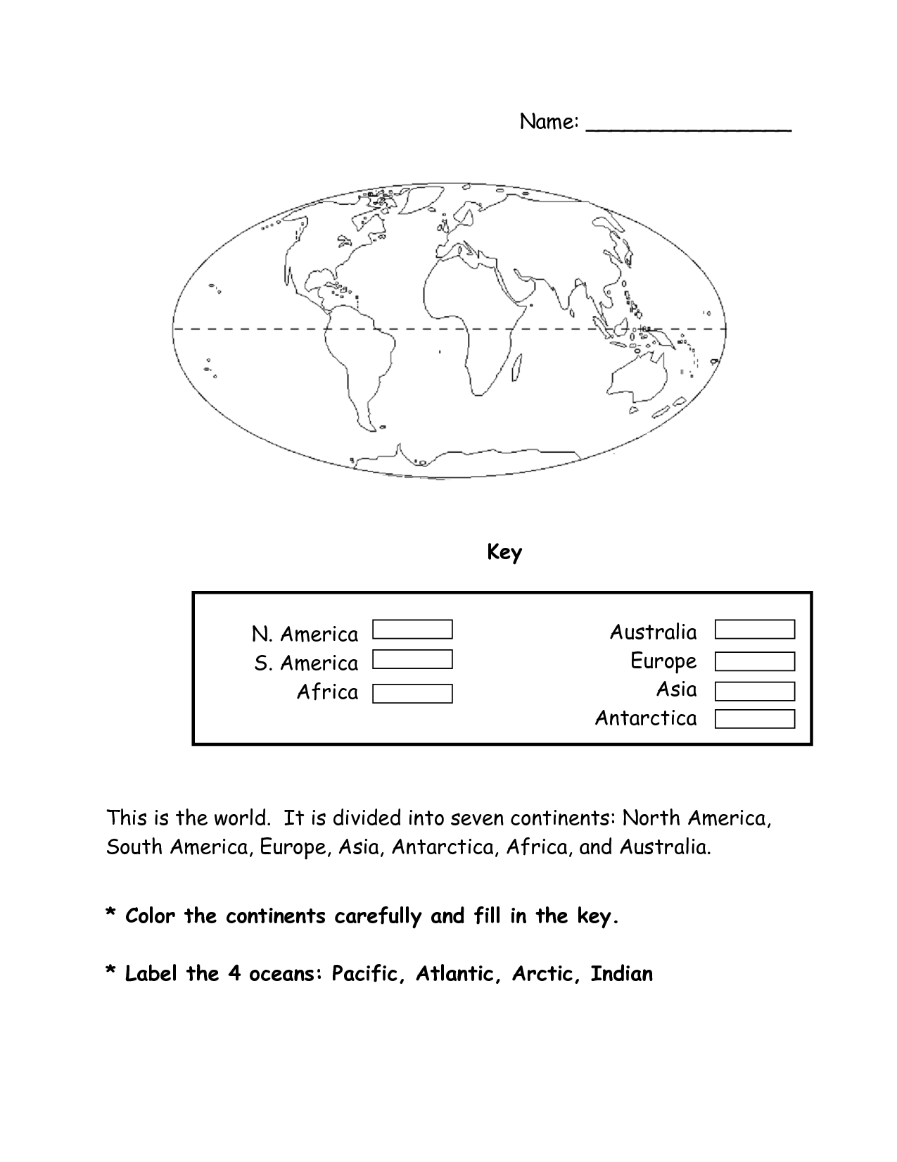 7 Continents 1st Grade Worksheet