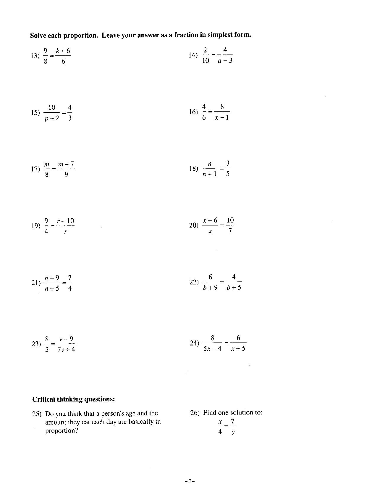14 Best Images Of Proportions Worksheets 7th Grade Math