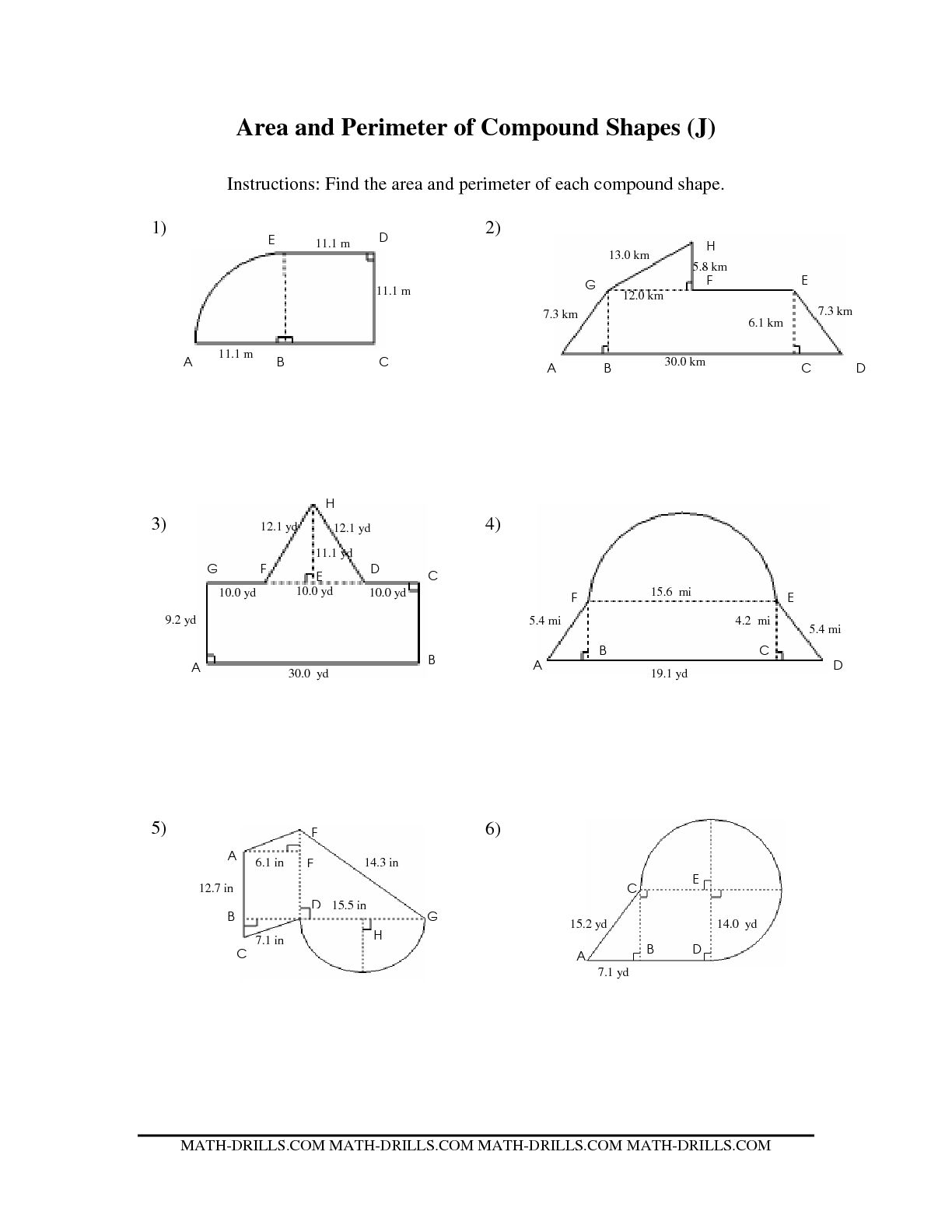 8 Best Images Of Worksheets Area Of A Figure
