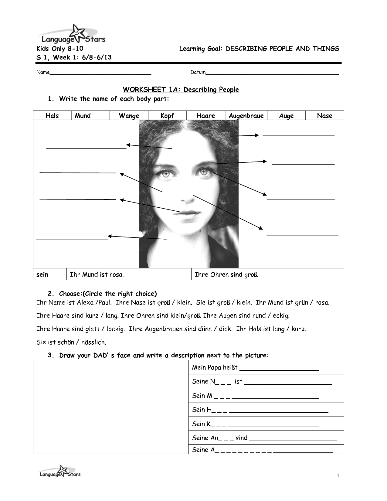 17 Best Images Of Describe It Worksheets