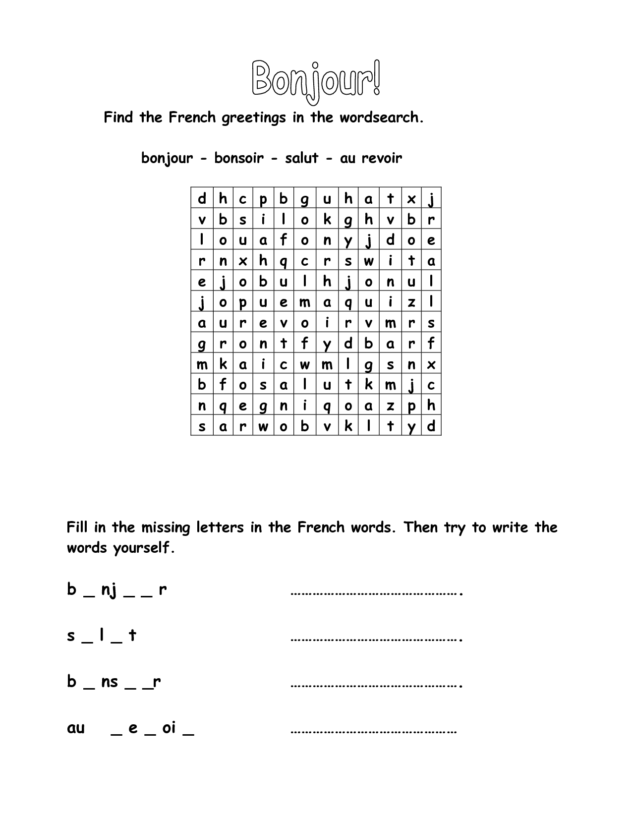 10 Best Images Of Beginning French Worksheets