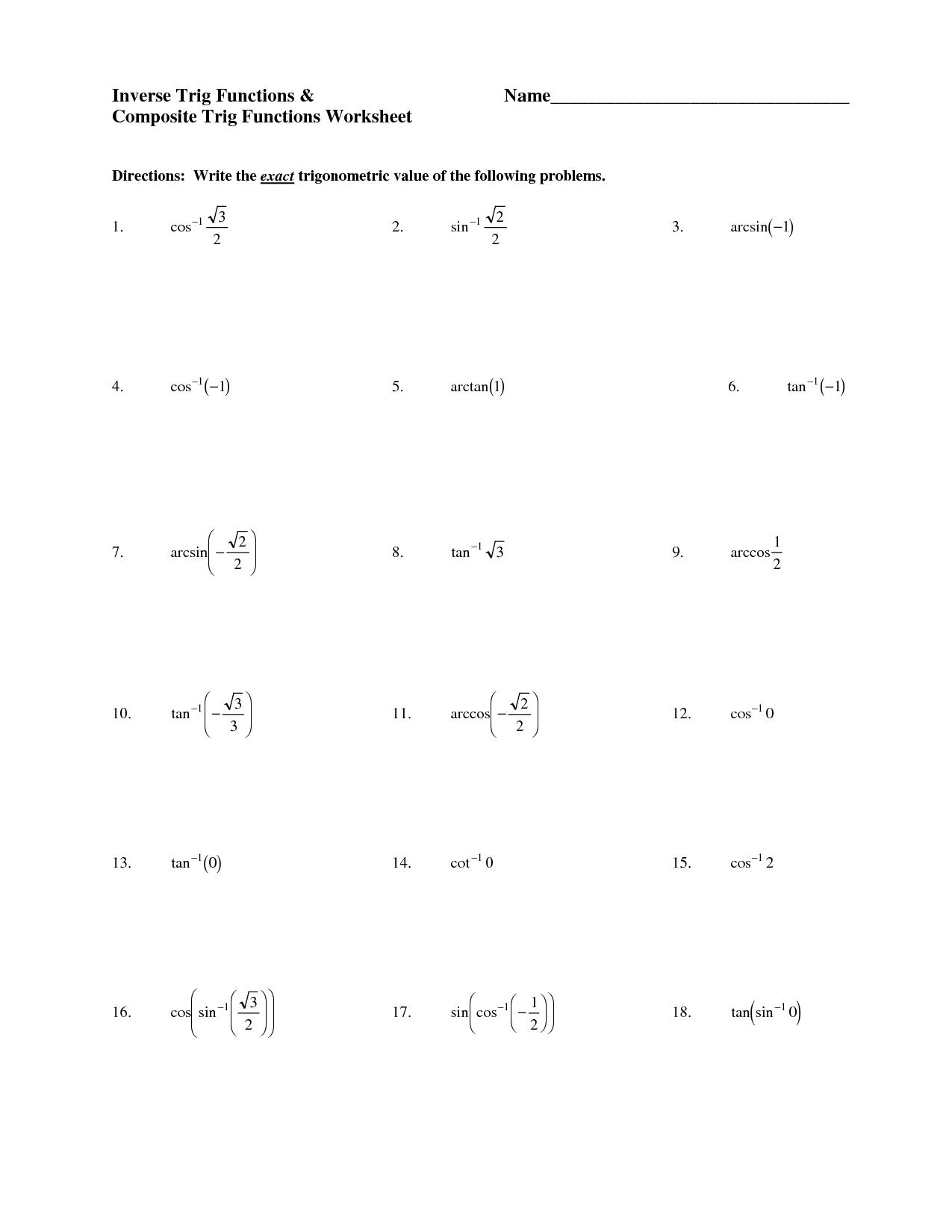 31 Inverse Trigonometric Functions Worksheet