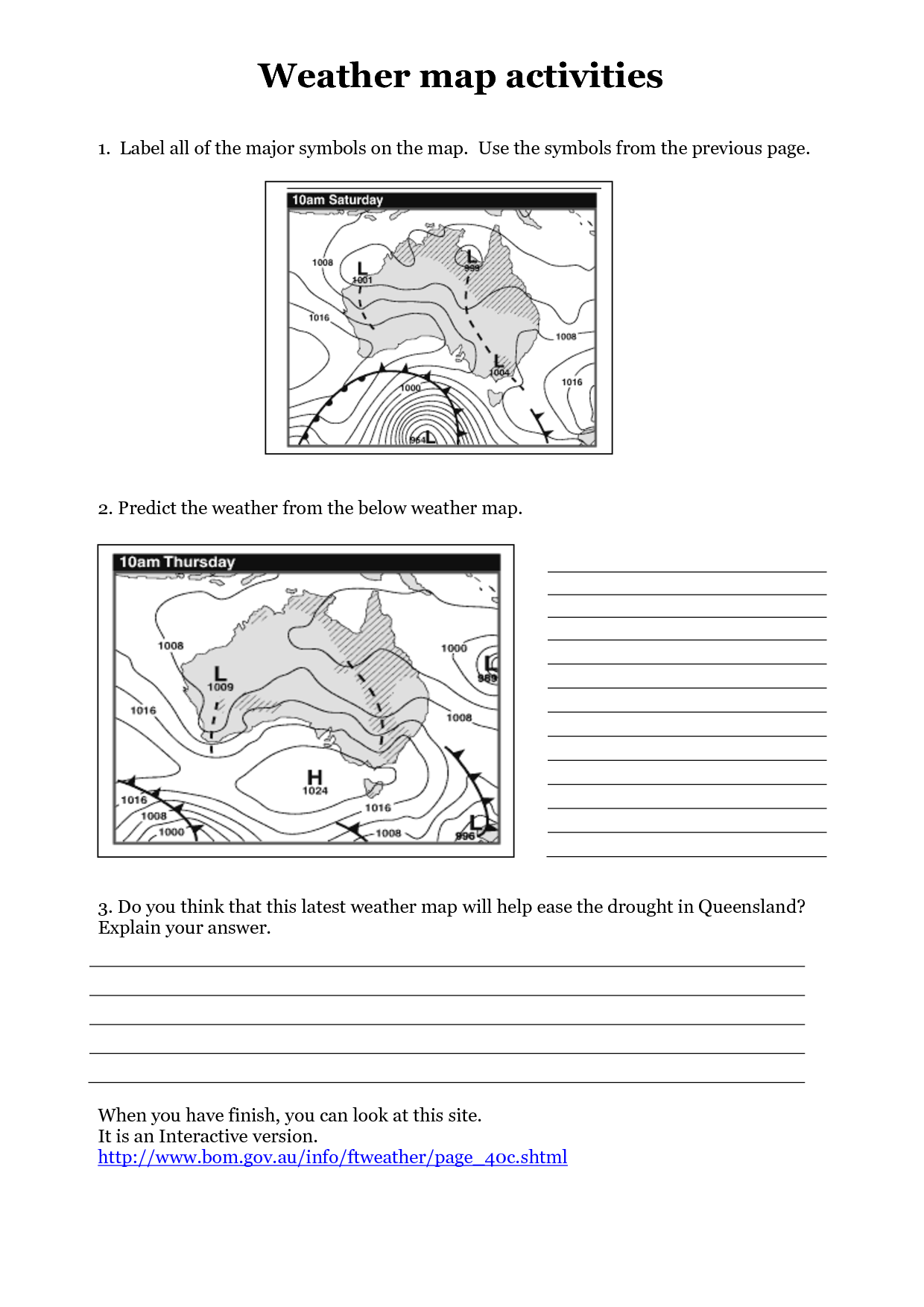 Weather Map Worksheet Answer Key