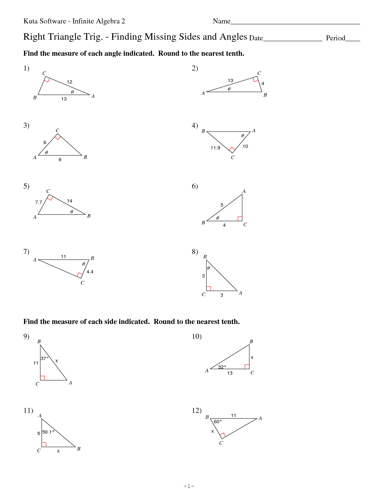 Geometry Worksheet Trigonometry