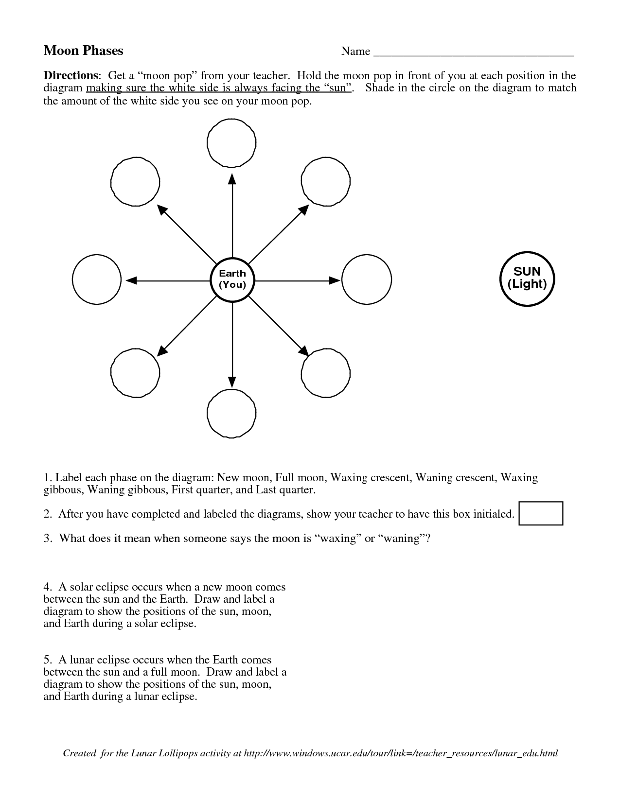 Search Results For Moon Phase Worksheets For Kids