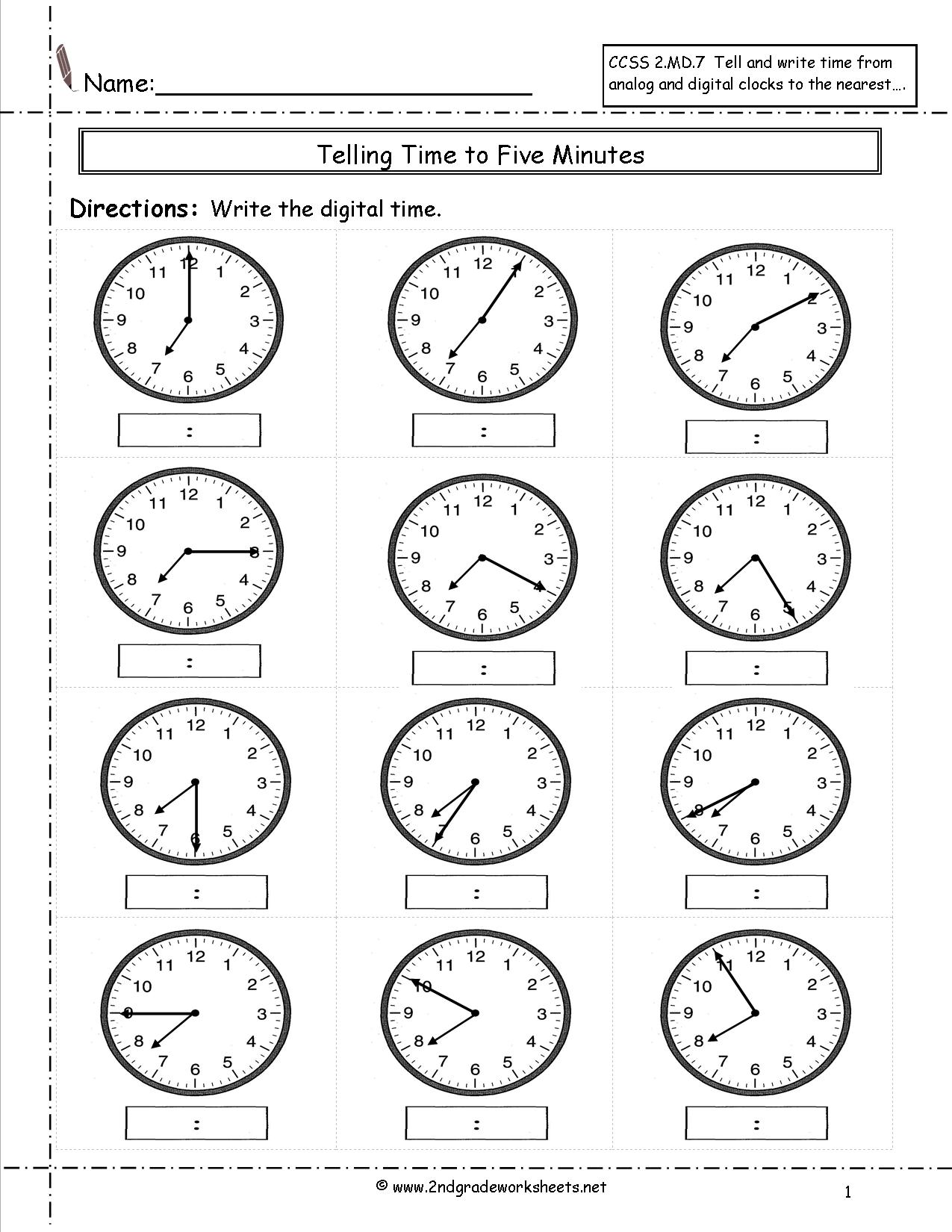 Telling Time 3rd Grade Worksheet