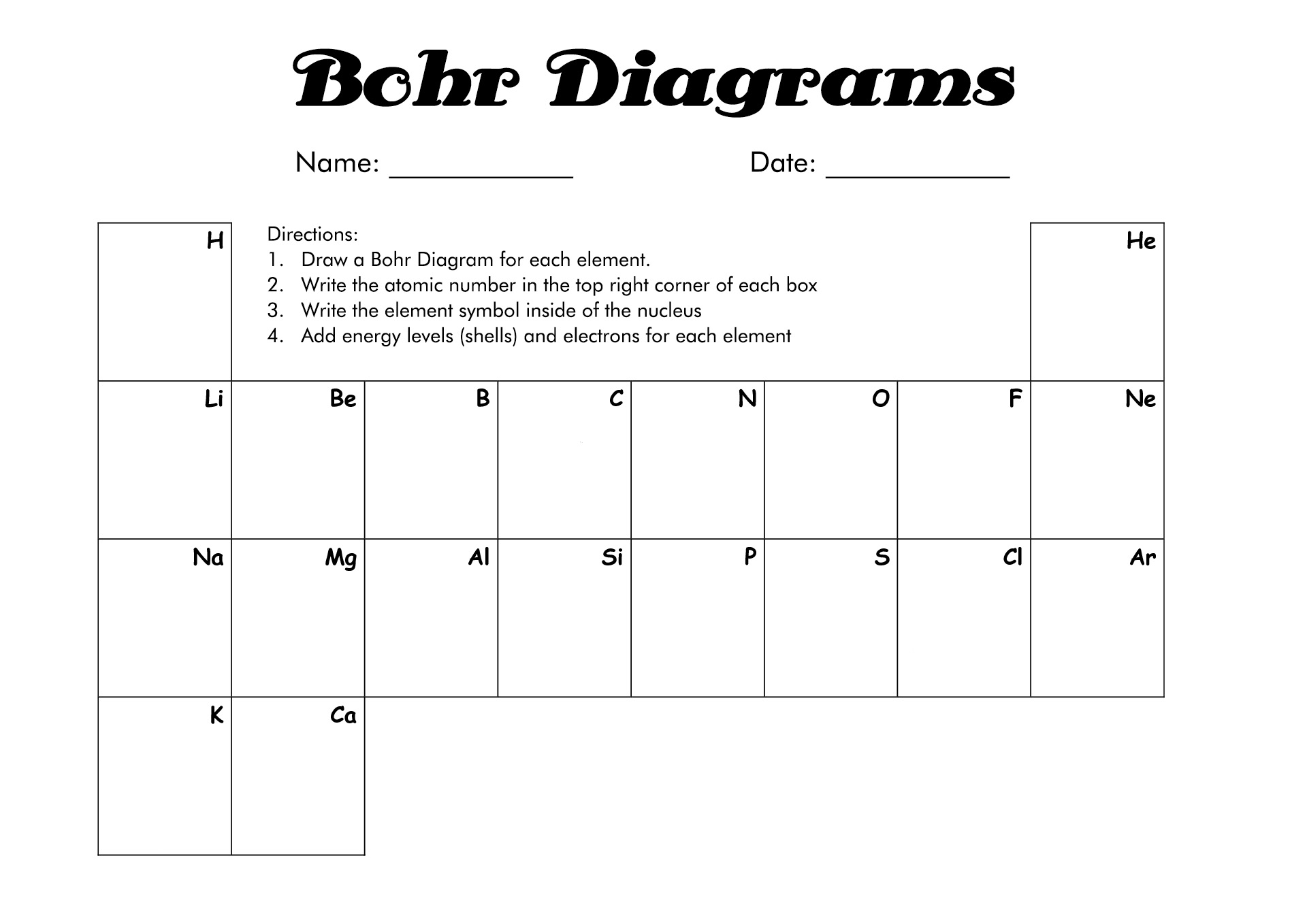 18 Best Images Of Bohr Diagram Worksheet