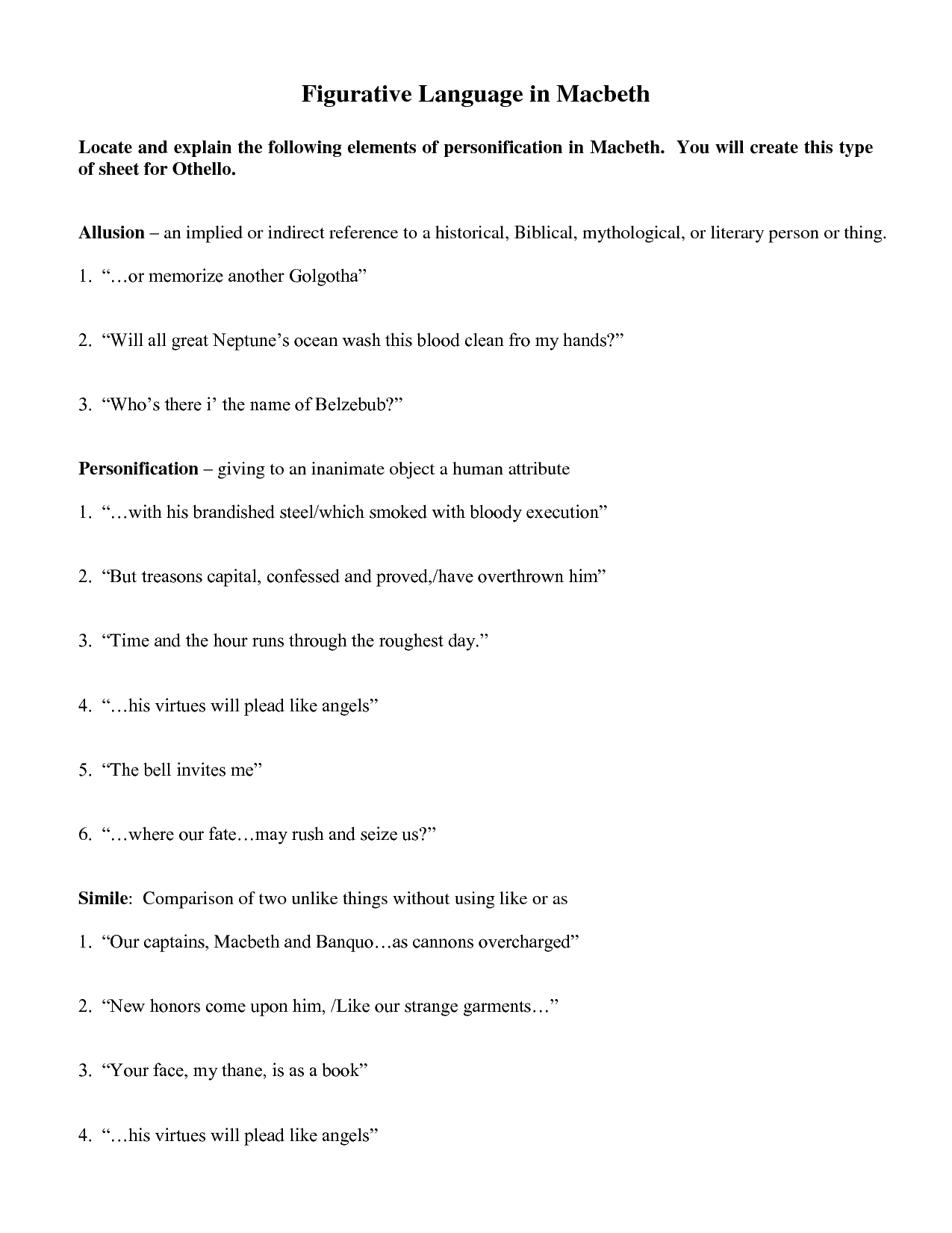 15 Best Images Of Figurative Language Worksheet 1 Answers