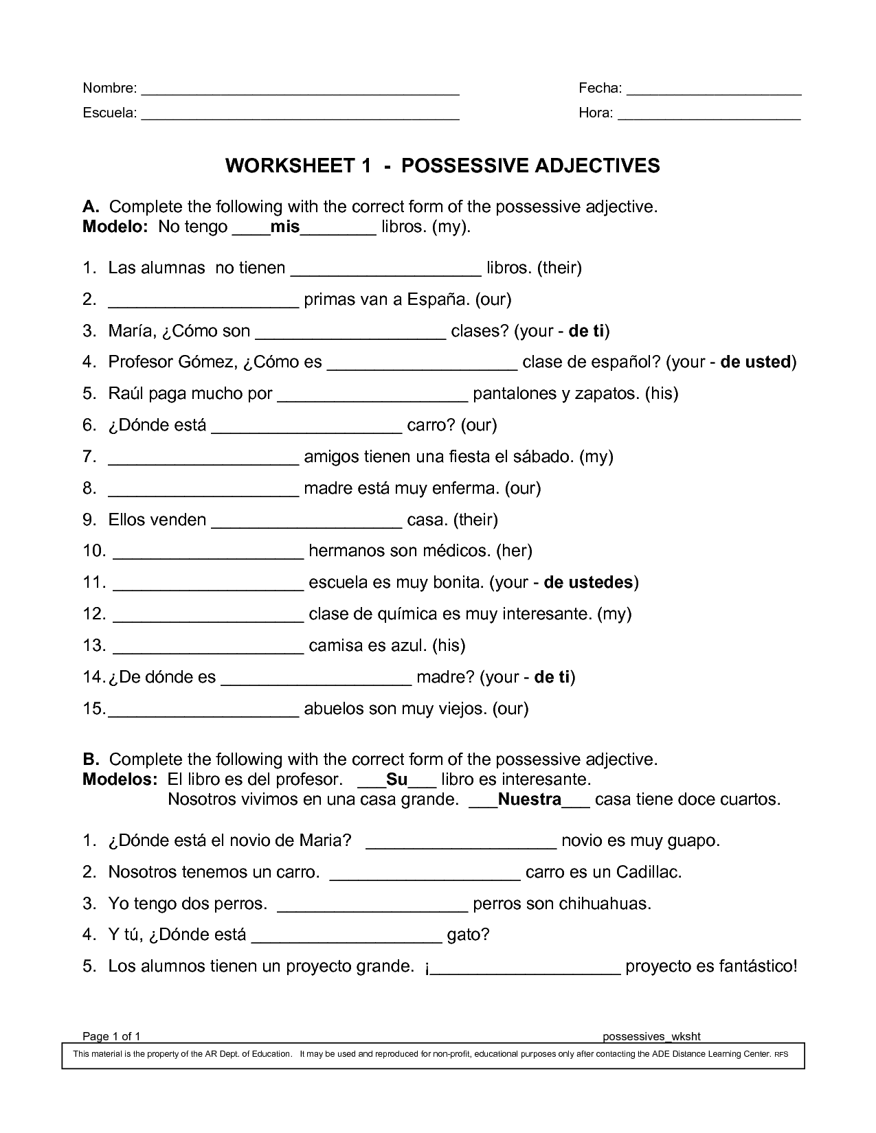 15 Best Images Of Spanish Possessive Pronouns Worksheet