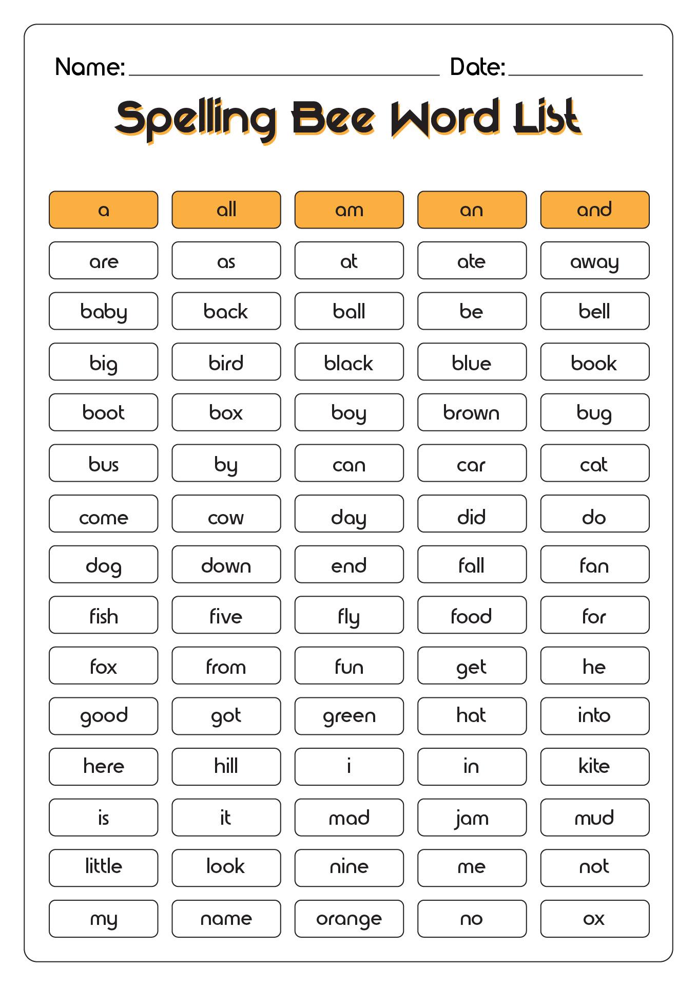 13 Best Images Of Spelling List Worksheets