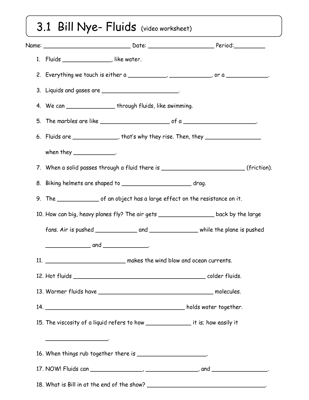 Science Friction Worksheet