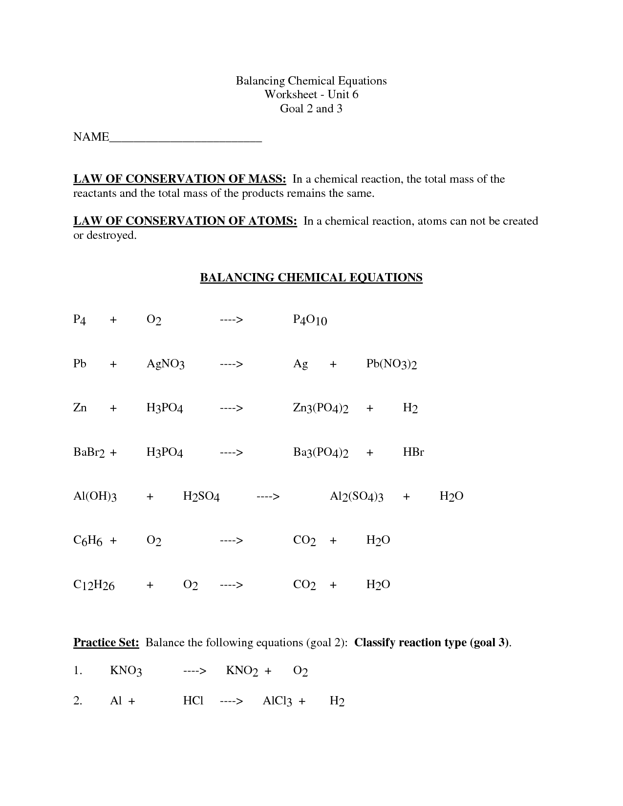 11 Best Images Of Balancing Chemical Equations Worksheet