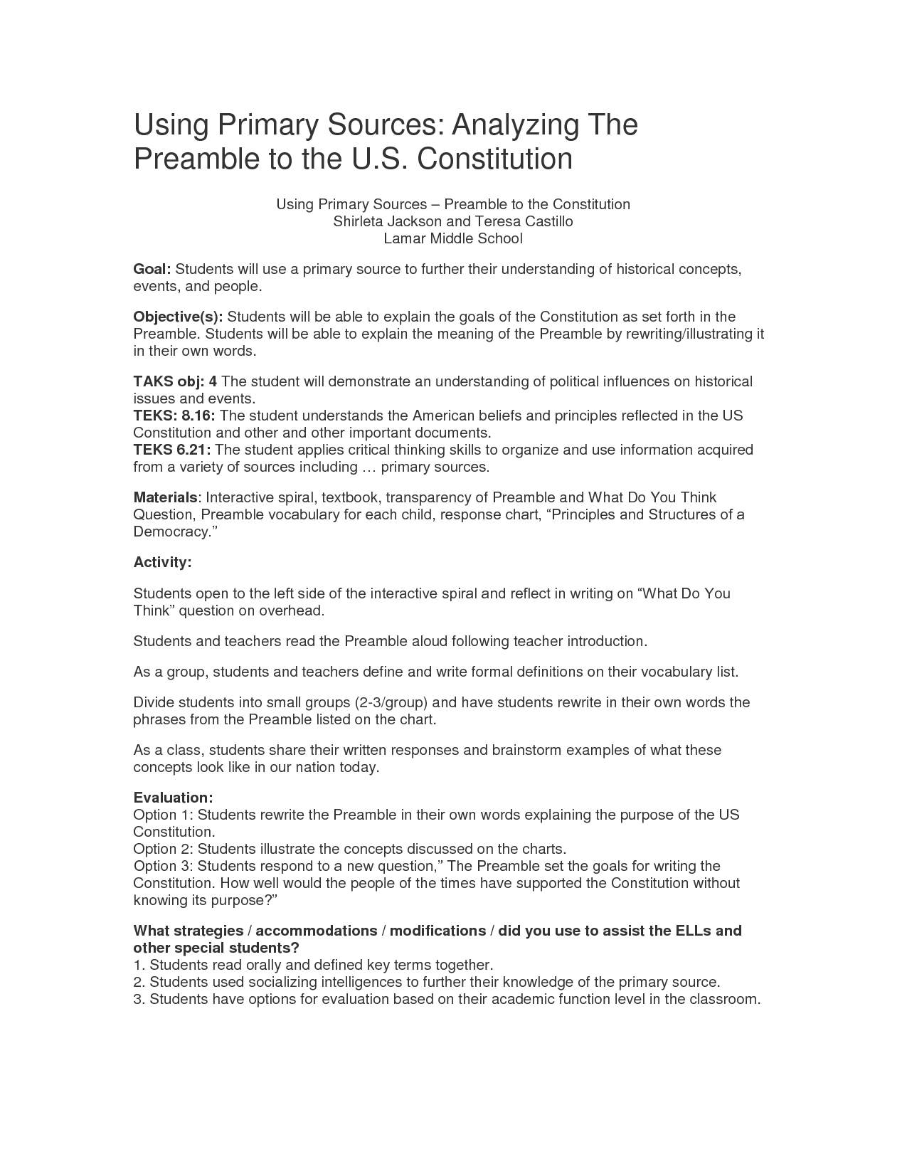 8 Best Images Of Constitution Worksheets Middle School