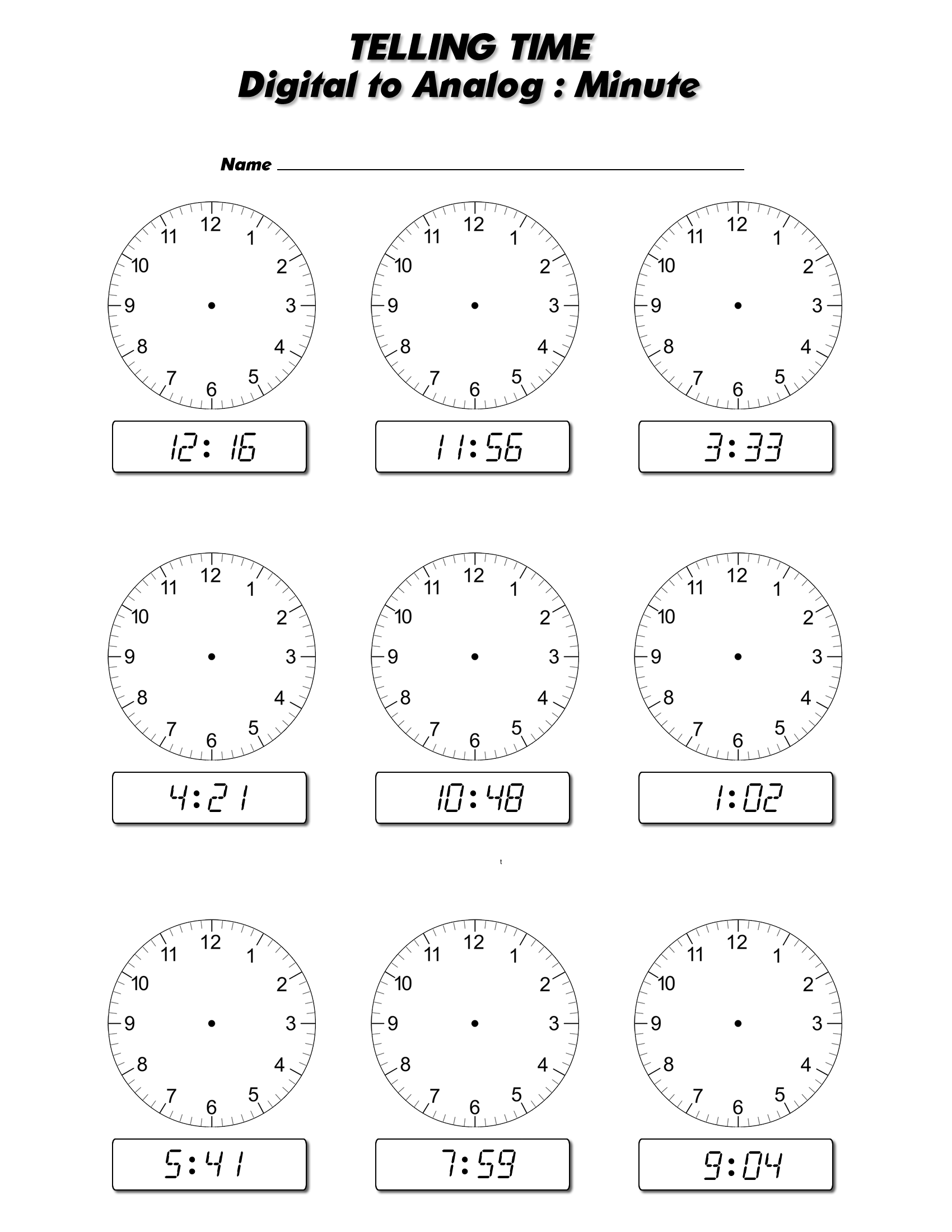 18 Best Images Of Digital Time Clock Worksheet