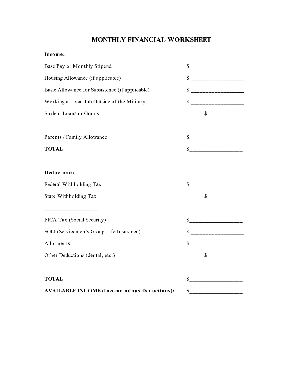 15 Best Images Of Blank Profit And Loss Worksheet