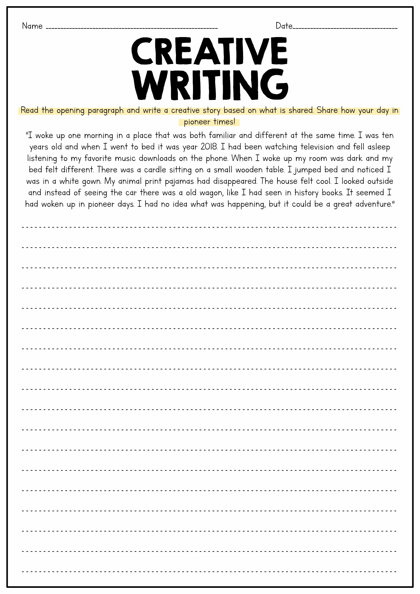 Worksheet 4th Grade Writing Task