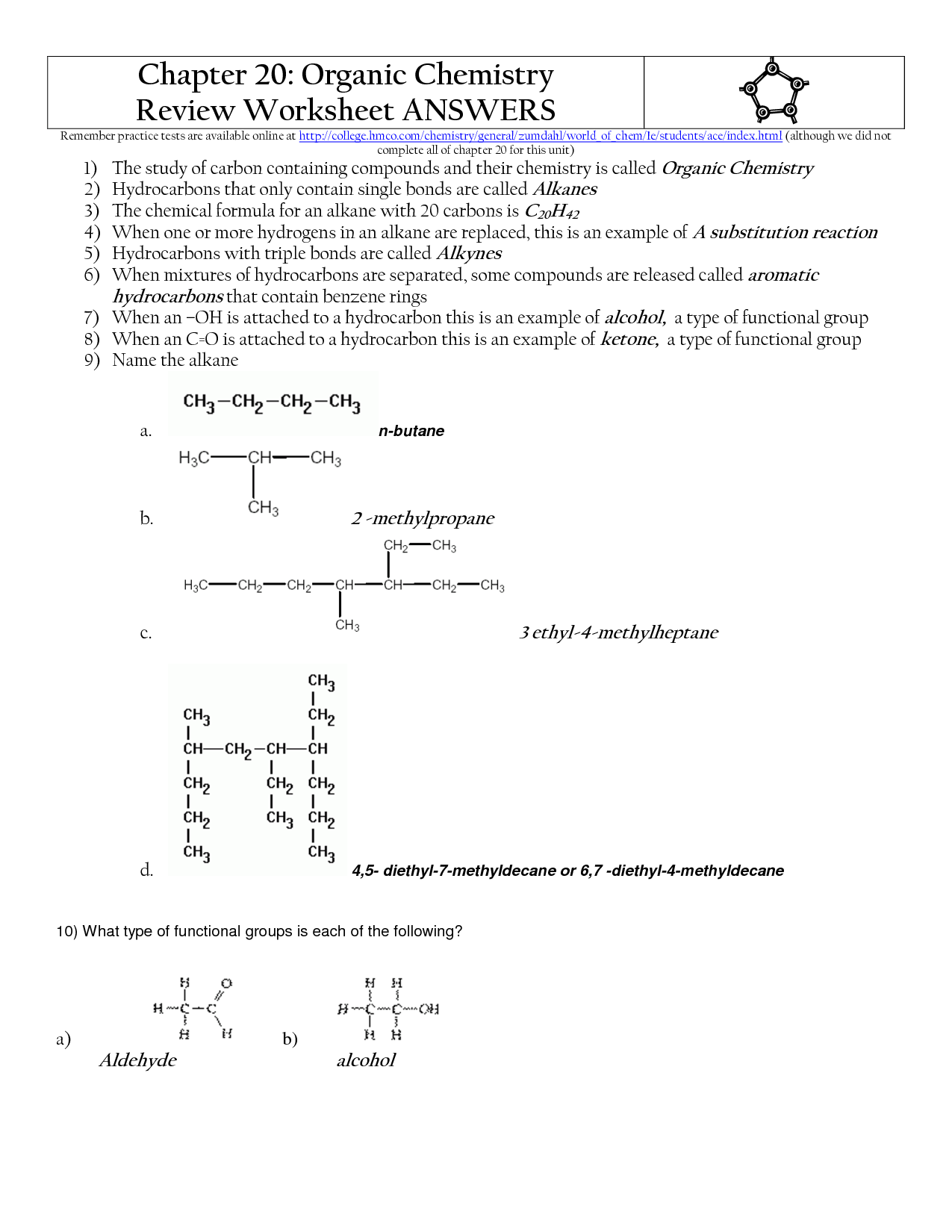 12 Best Images Of Organic Molecules Worksheet Review