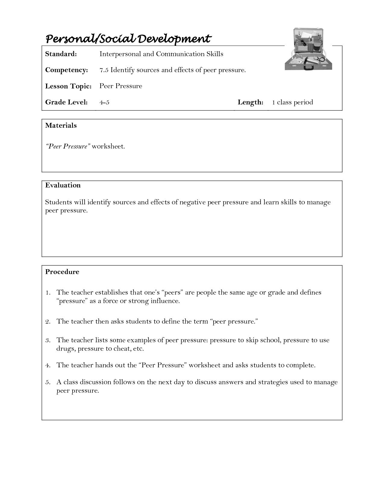 Peer Pressure Worksheet Middle School