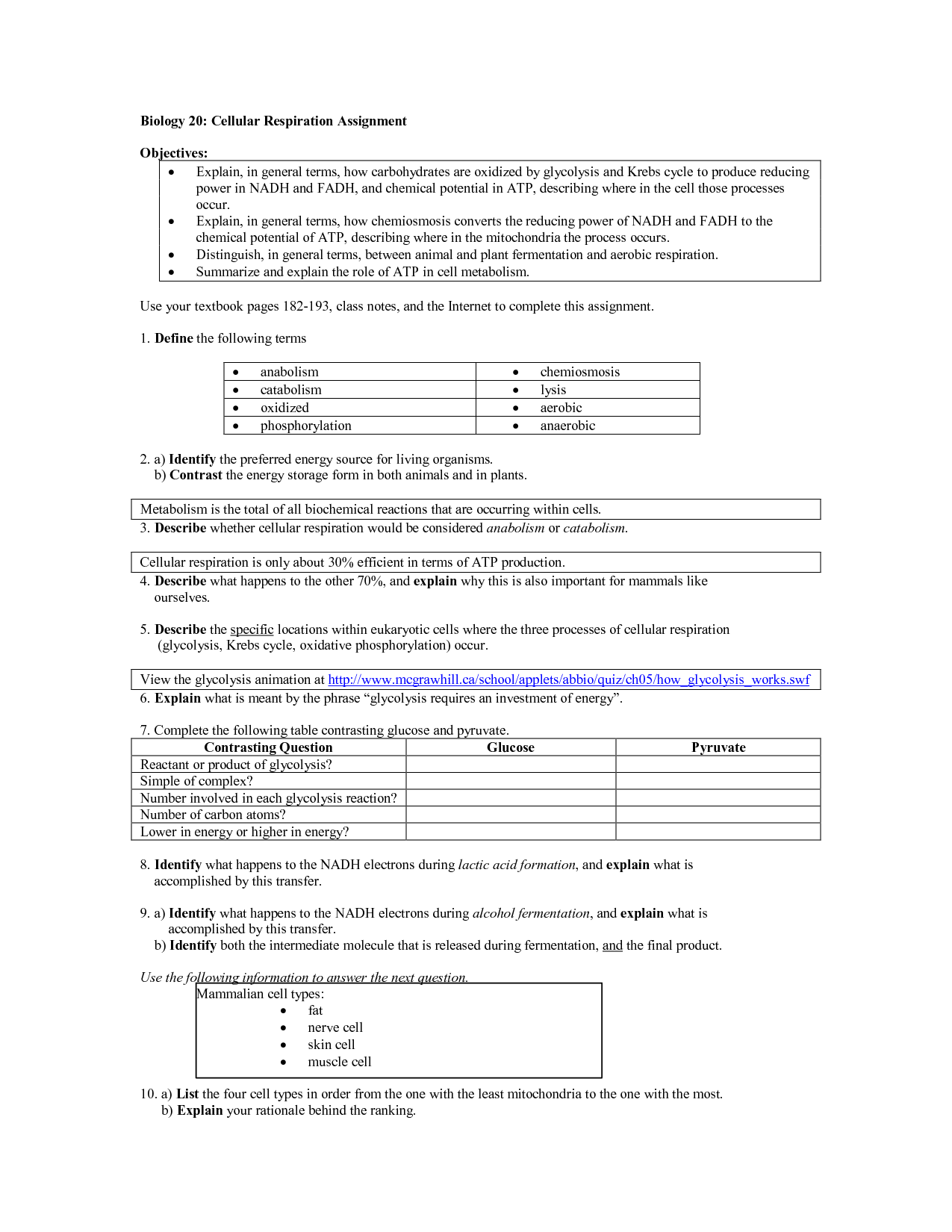 Energy Review Worksheet