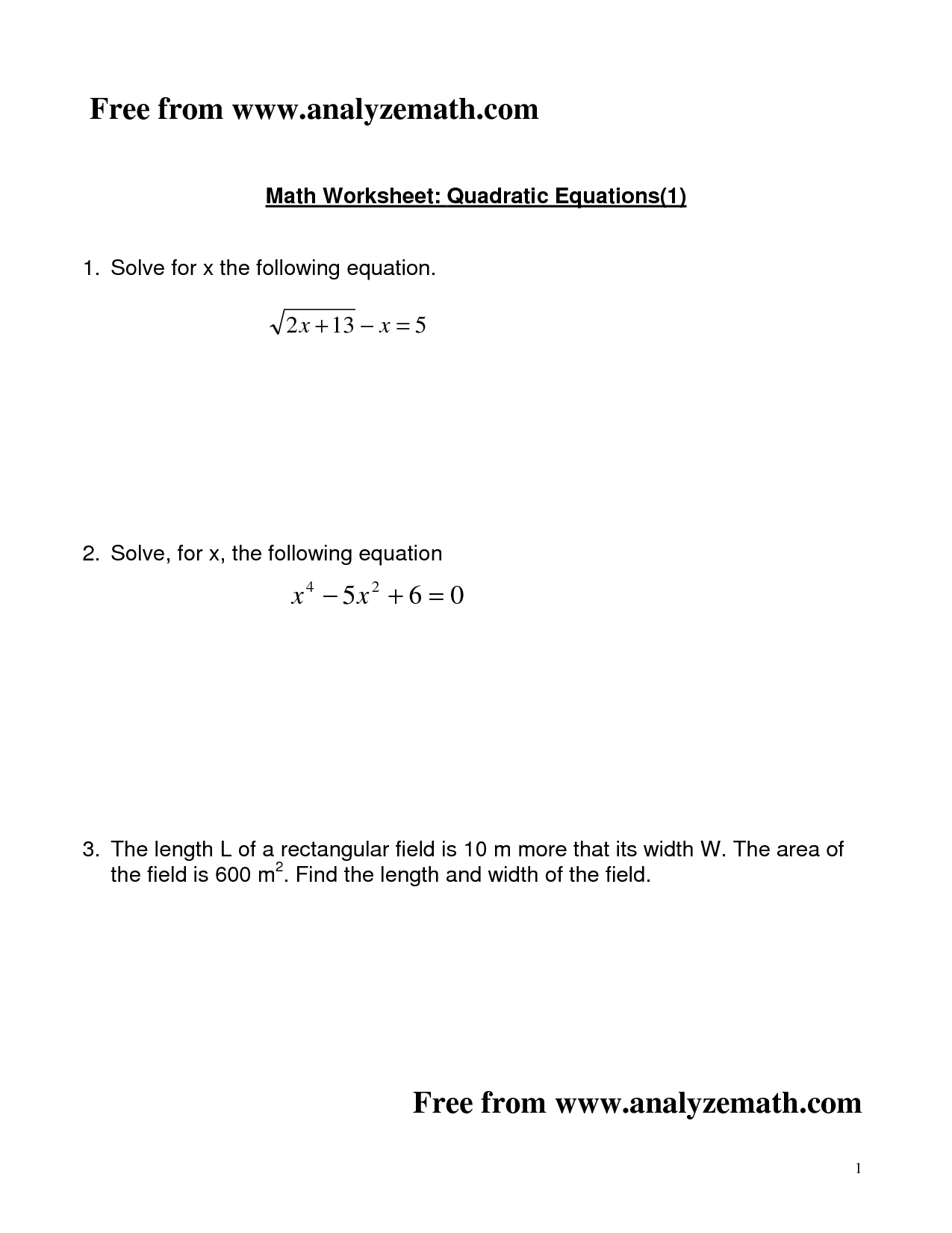 16 Best Images Of Formula Quadratic Equation Worksheets