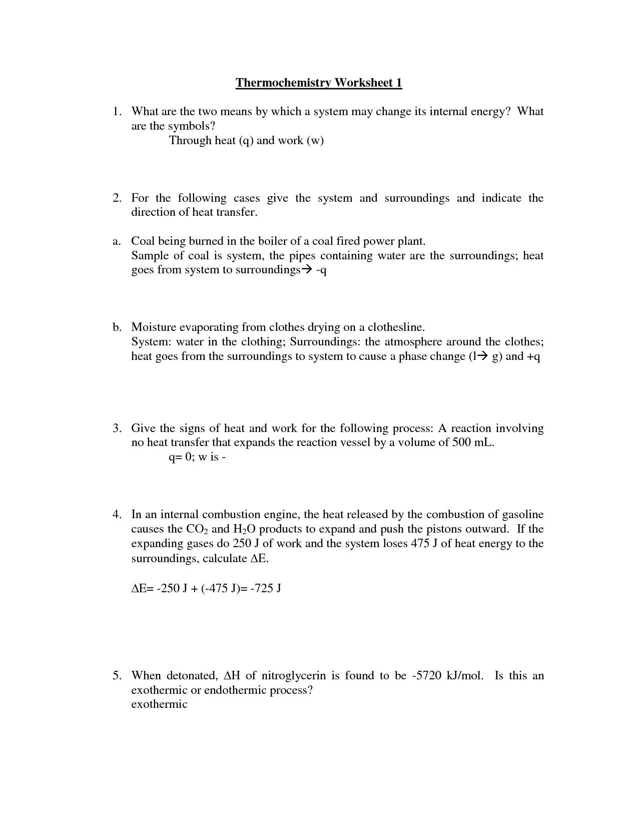 Heat Transfer Heat Transfer Worksheet Answer Key