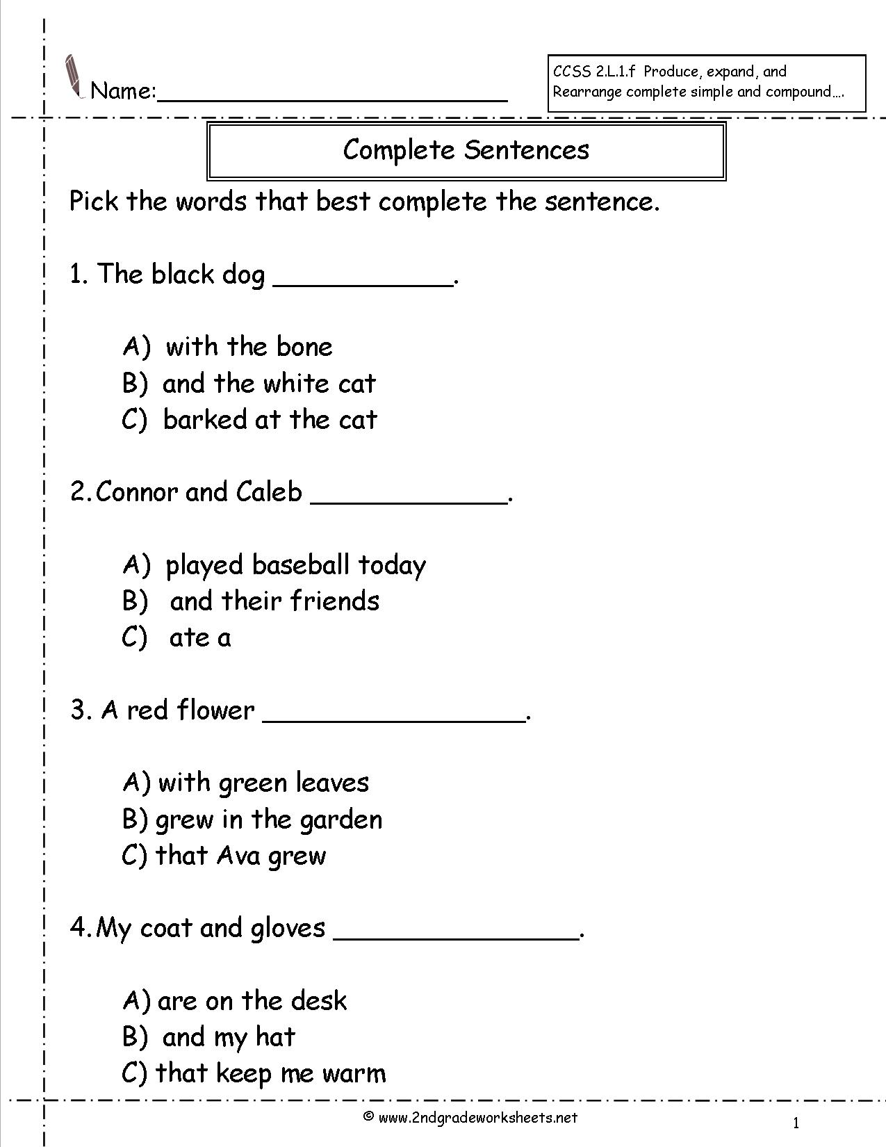 18 Best Images Of First Grade Sentence Writing Worksheet