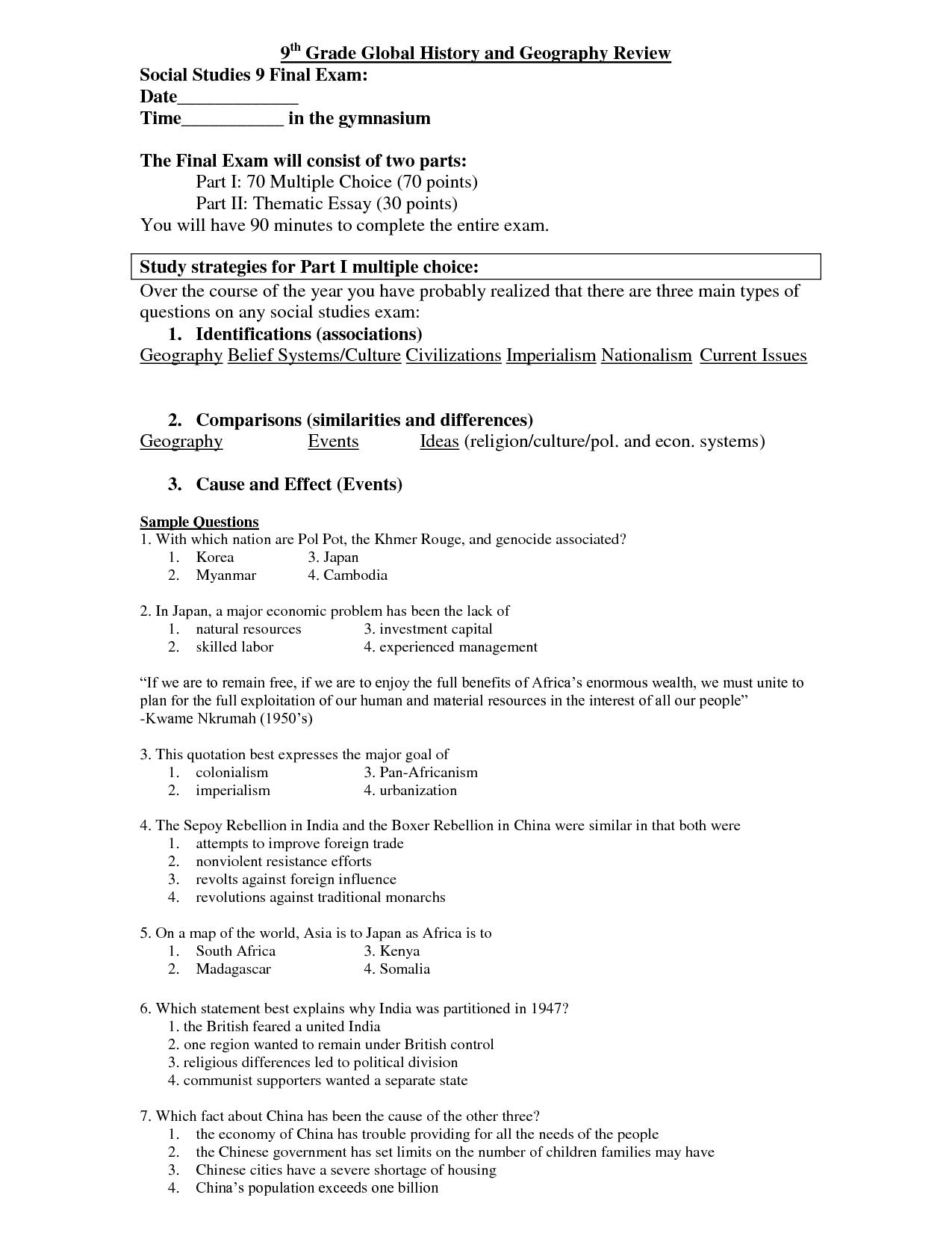 Printable Science Worksheet 9th